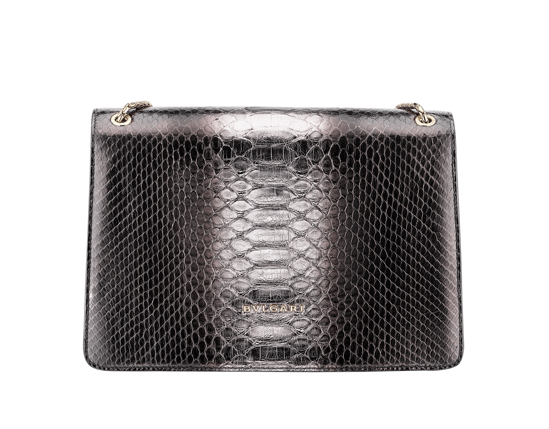 Serpenti Forever shoulder bag in black and silver shaded python skin. Snakehead closure in light gold plated brass decorated with black enamel, and black onyx eyes. 288494 image 3