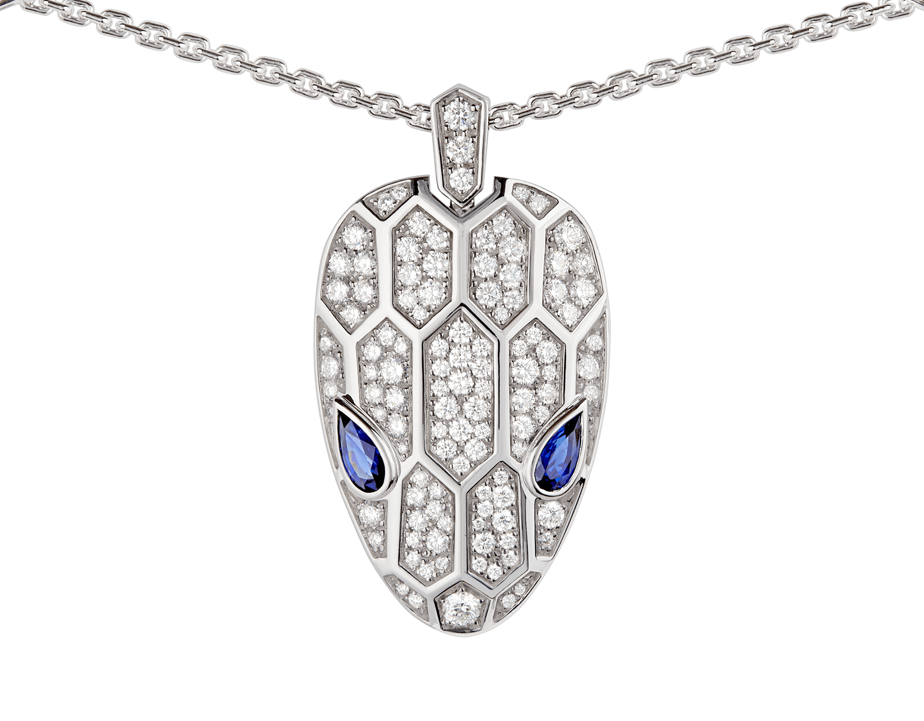 Serpenti necklace in 18 kt white gold set with blue sapphire eyes and pavé diamonds on both the chain and the pendant. 353529 image 3
