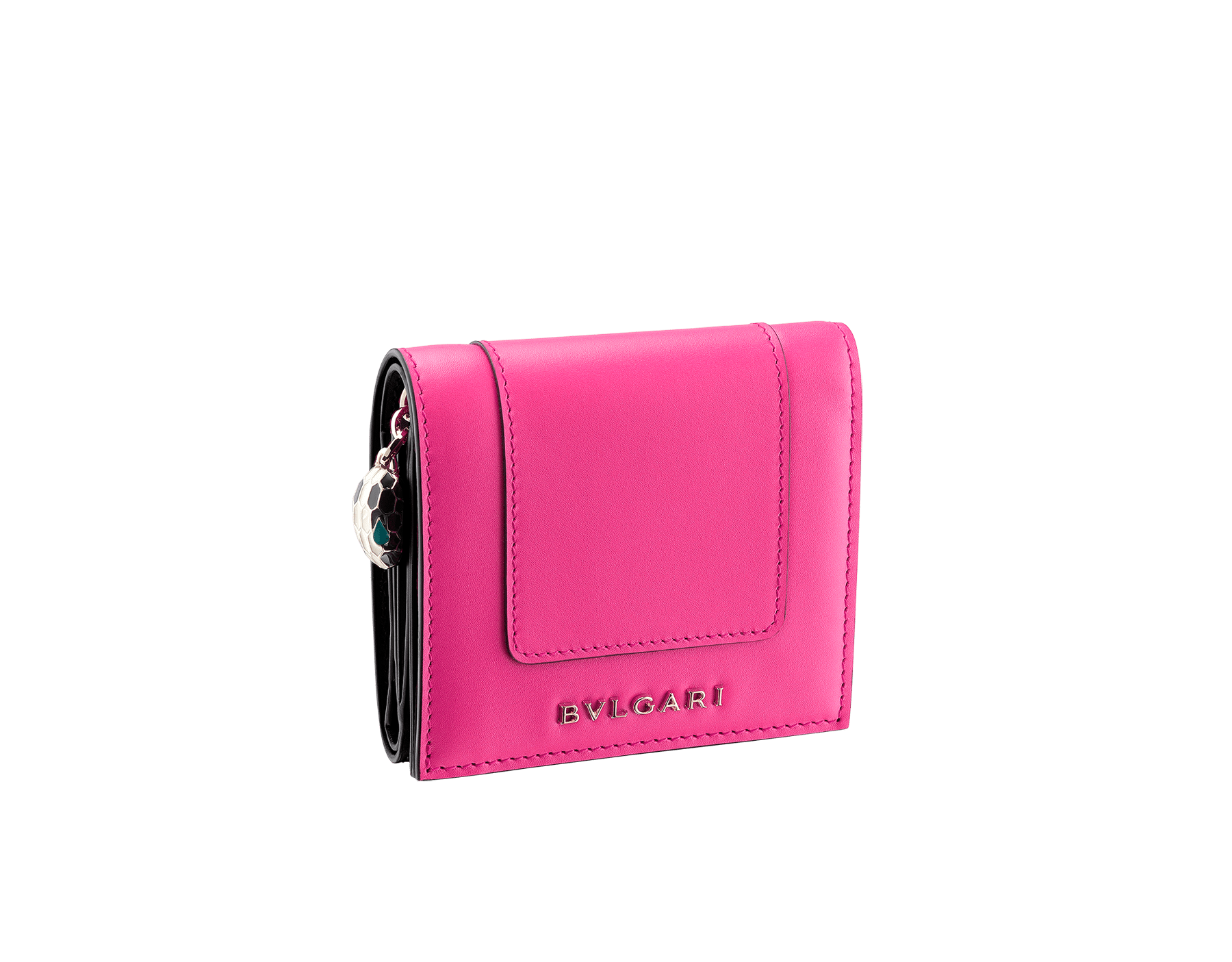Serpenti Forever super compact wallet in roman garnet and pink spinel calf leather. Iconic snakehead zip puller in black and white enamel, with green malachite enamel eyes. SEA-SUPERCOMPACT-CLa image 1