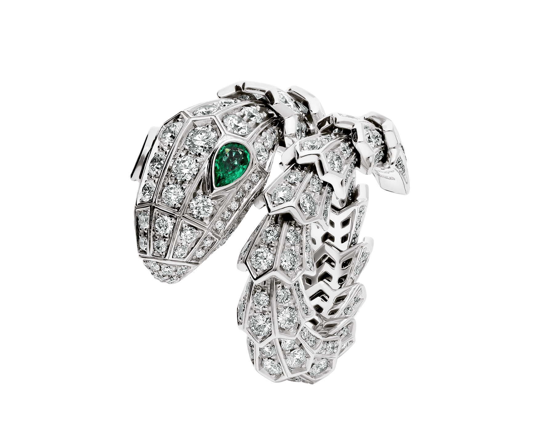 Serpenti 18 kt white gold ring set with pavé diamonds and two emerald eyes. AN858323 image 1