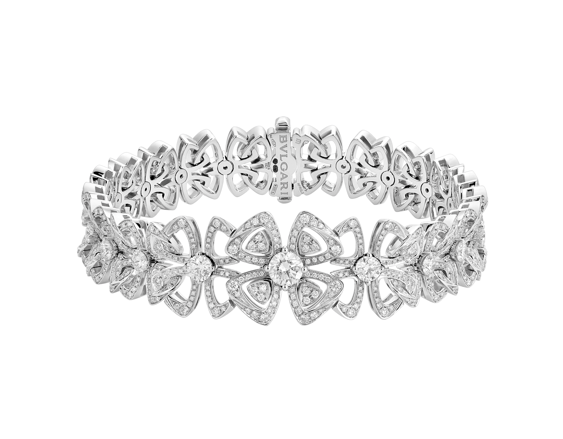 Fiorever 18 kt white gold bracelet set with 20 round brilliant-cut diamonds (2.63 ct) and pavé diamonds (1.85 ct) BR858758 image 1