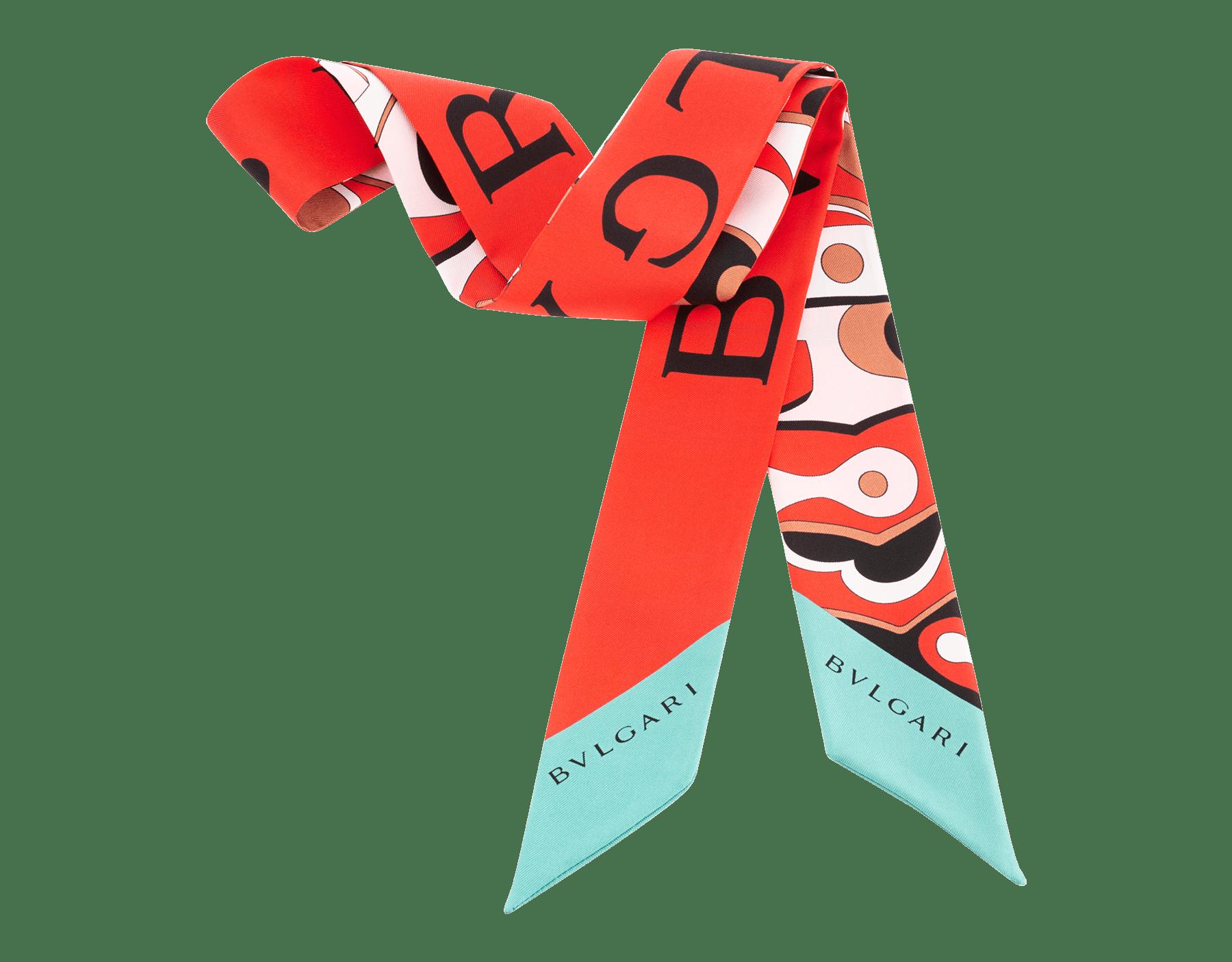 Shelley Snakeflage rosso in pregiato twill di seta. 244024 image 2