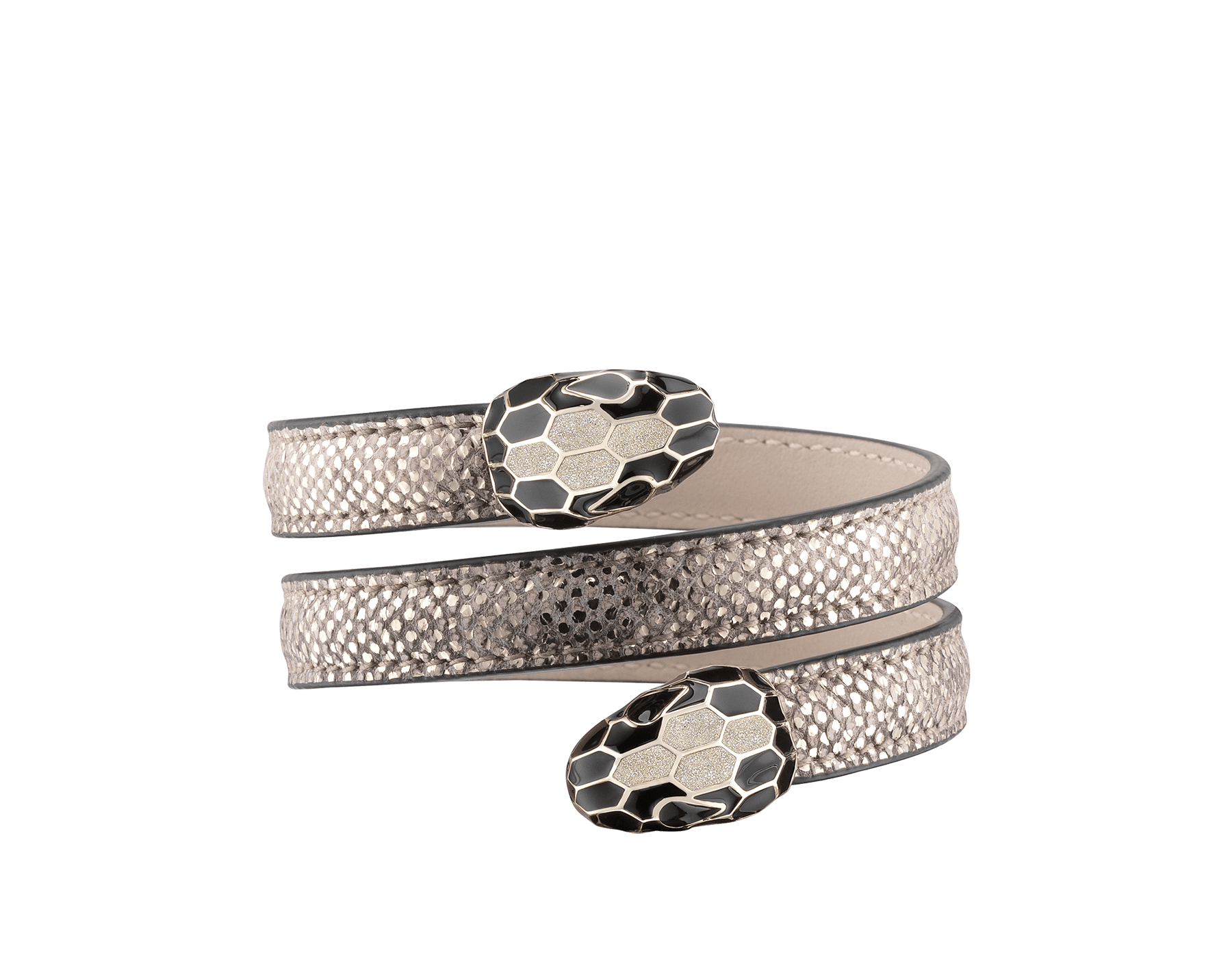 Serpenti Forever multi-coiled rigid Cleopatra bracelet in milky opal metallic karung skin, with brass light gold plated hardware. Iconic double snakehead décor in black and glitter milky opal enamel, with black enamel eyes. Cleopatra-MK-MO image 1