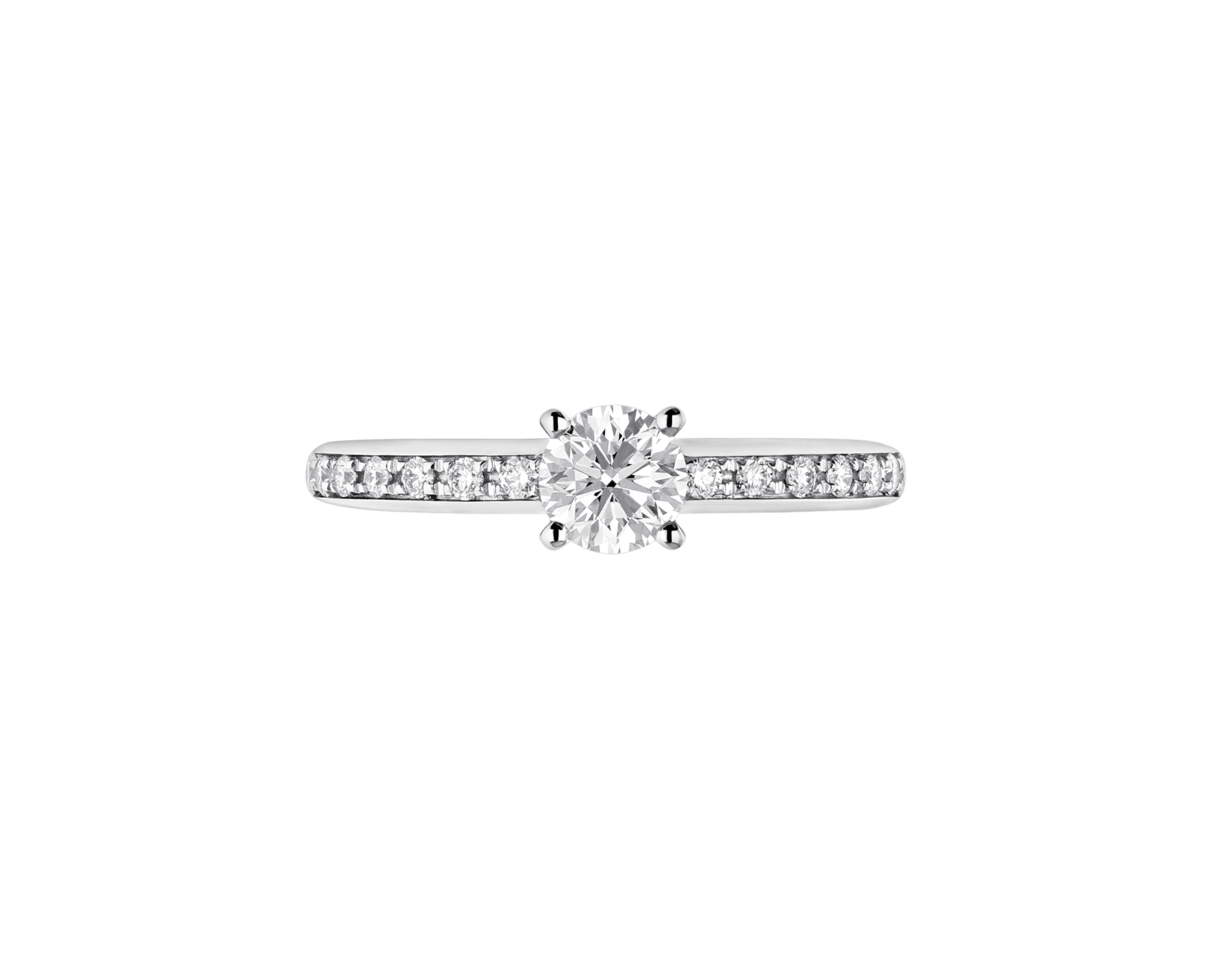 Griffe solitaire ring in platinum with a round brilliant cut diamond and pavé diamonds 340252 image 3