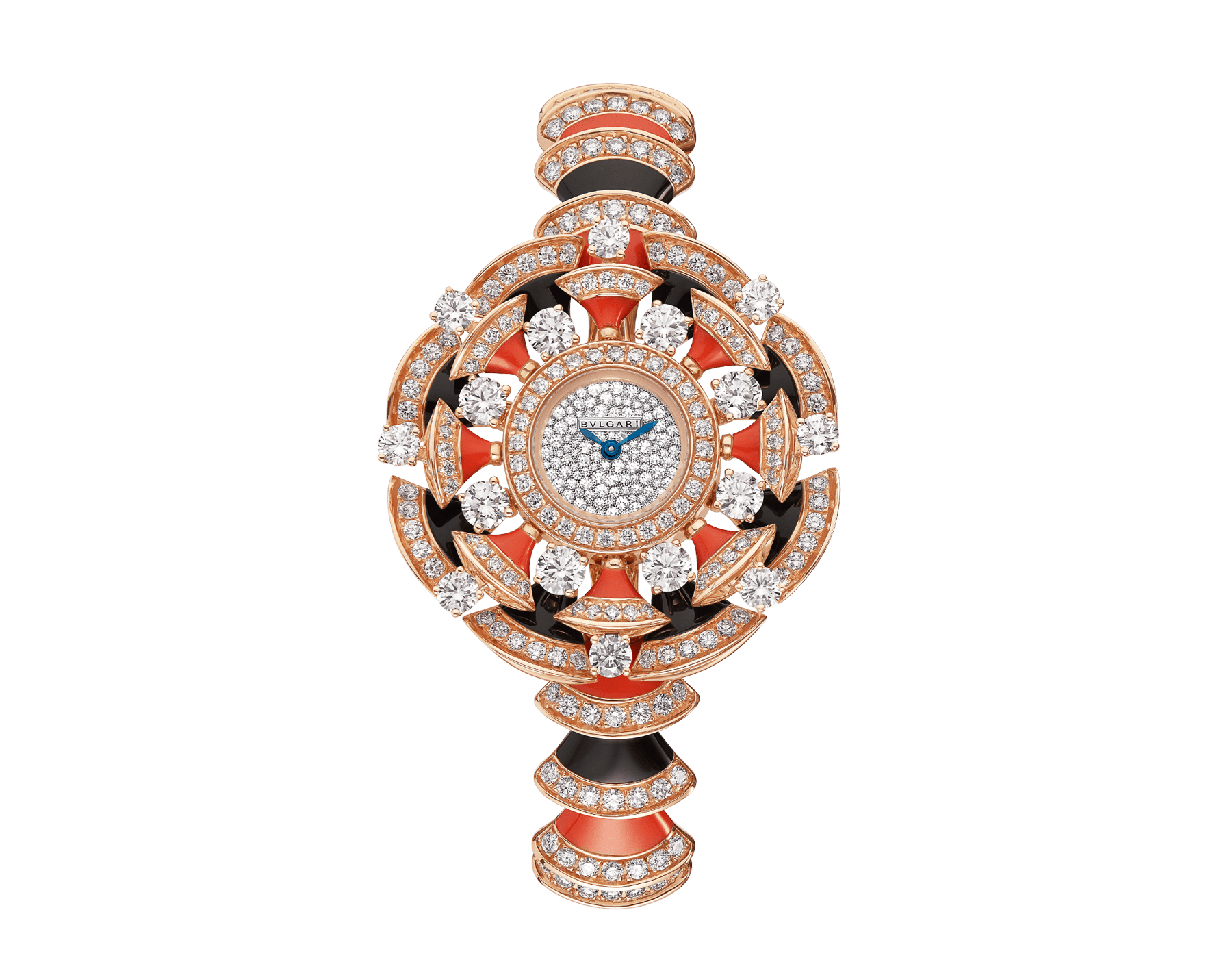 DIVAS' DREAM watch in 18 kt rose gold case and bracelet, both set with brilliant-cut diamonds, onyx and coral rubrum elements, with snow pavé dial 102422 image 1