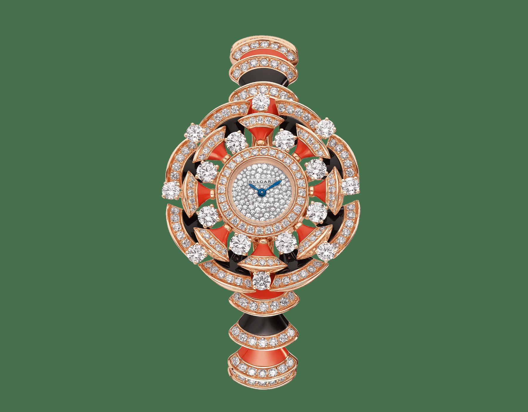 DIVAS' DREAM Uhr mit Gehäuse und Armband aus 18 Karat Roségold, beide mit Diamanten im Brillantschliff, Elementen aus Onyx und roter Koralle, mit Zifferblatt in Neige Pavé-Technik 102422 image 1