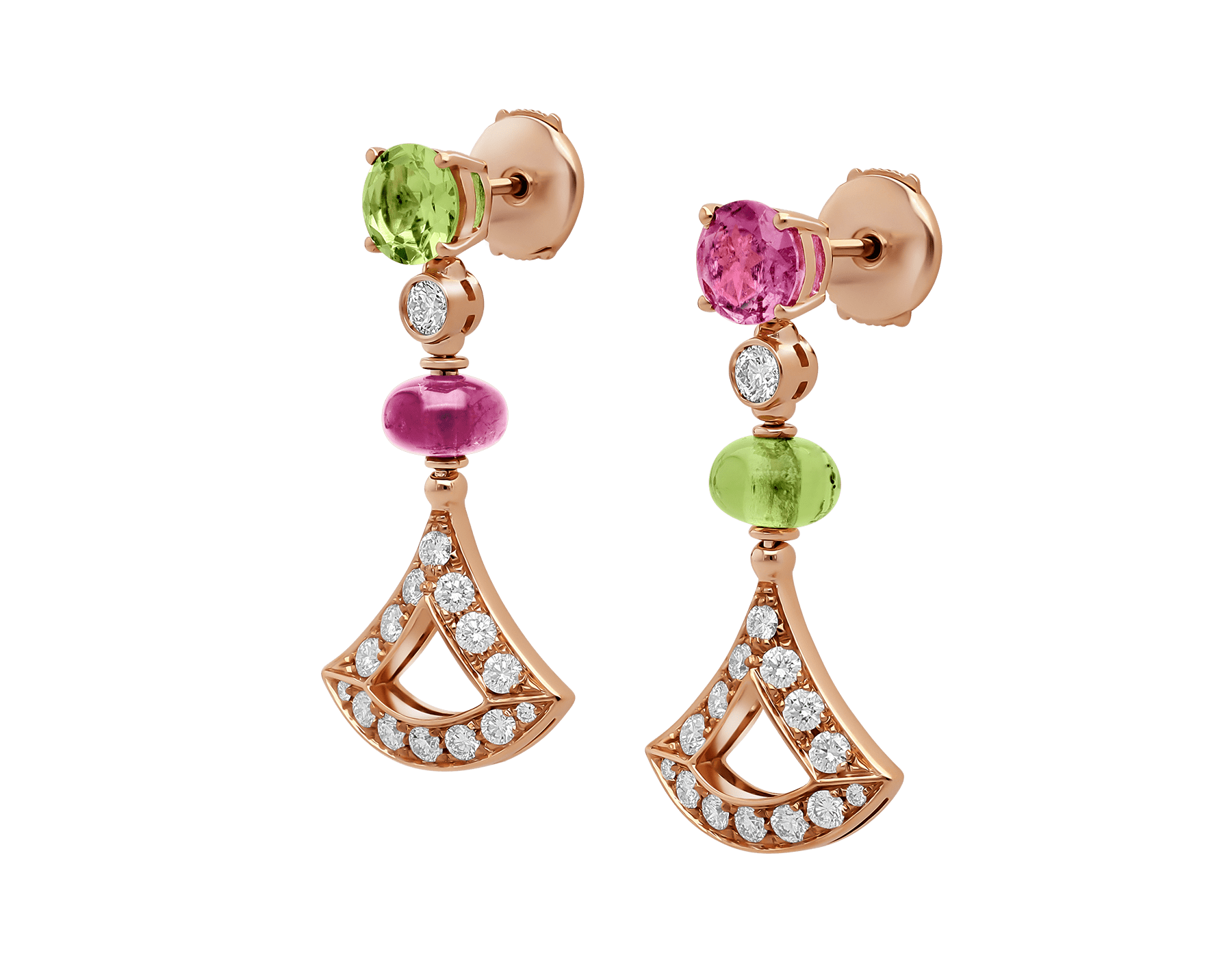 DIVAS' DREAM 18 kt rose gold earrings set with coloured gemstones and pavé diamonds 355616 image 2