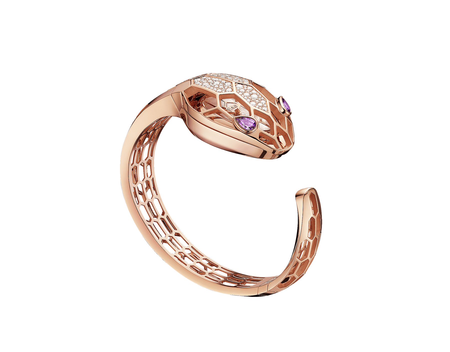 Serpenti Misteriosi Secret Watch with 18 kt rose gold skeletonized case set with round brilliant-cut diamonds, white mother-of-pearl dial, 18 kt rose gold skeletonized bangle bracelet and pear-shaped amethyst eyes. SrpntMister-SecretWtc-rose-gold image 3