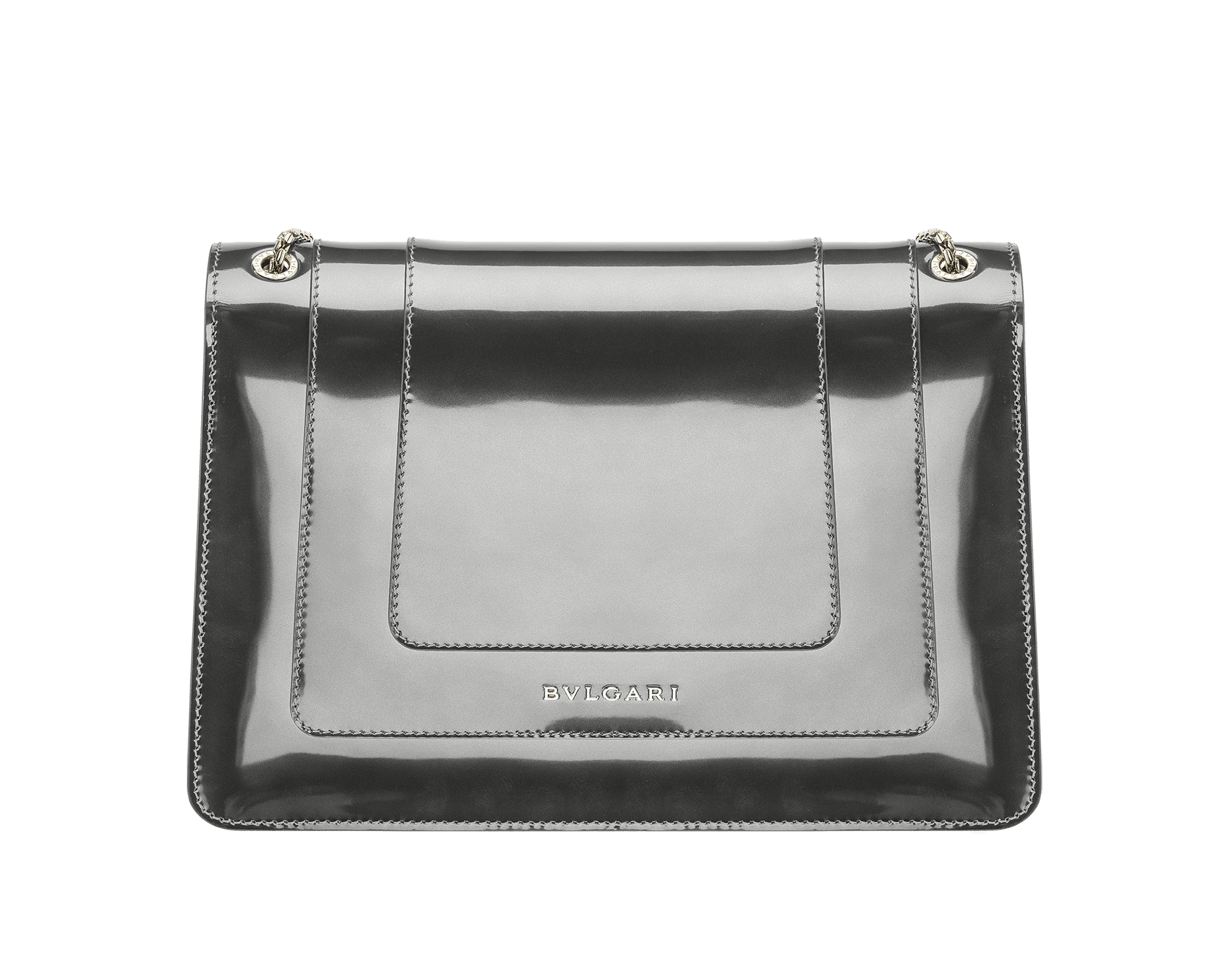 Flap cover bag Serpenti Forever in mirage shiny silver brushed metallic calf leather. Brass light gold plated snake head closure in black and white enamel with eyes in green malachite. 39793 image 3