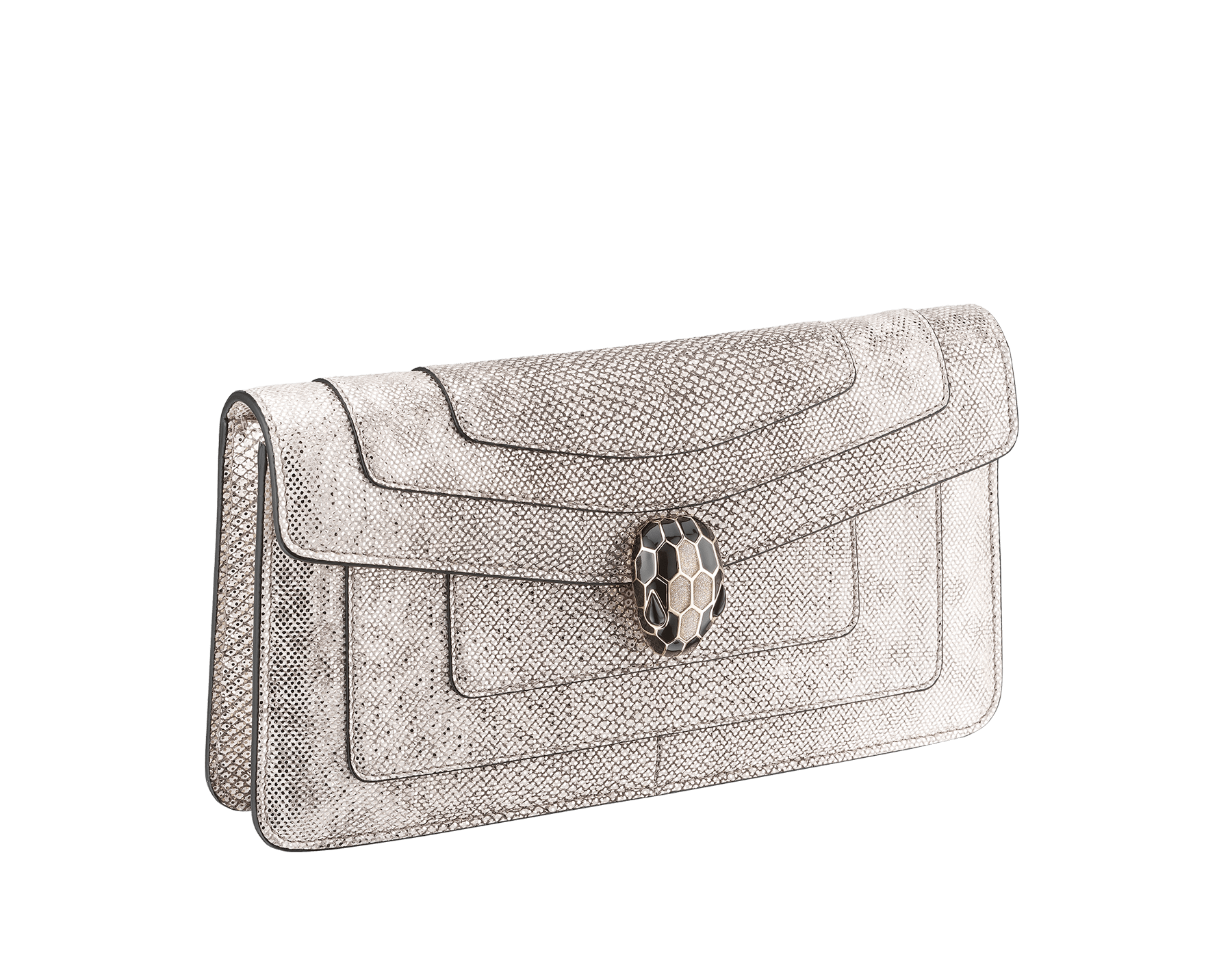 Serpenti Forever shoulder bag in milky opal metallic karung skin. Snakehead closure in light gold plated brass decorated with black and glitter milky opal enamel, and black onyx eyes. 287943 image 2