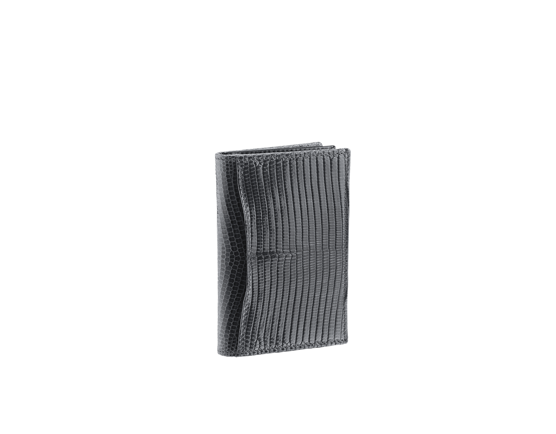 """BVLGARI BVLGARI"" business-card holder in shiny Charcoal Diamond grey lizard skin and black calfskin. Palladium-plated brass embellishment with logo. BBM-BC-HOLD-SIMPLE-sl image 3"