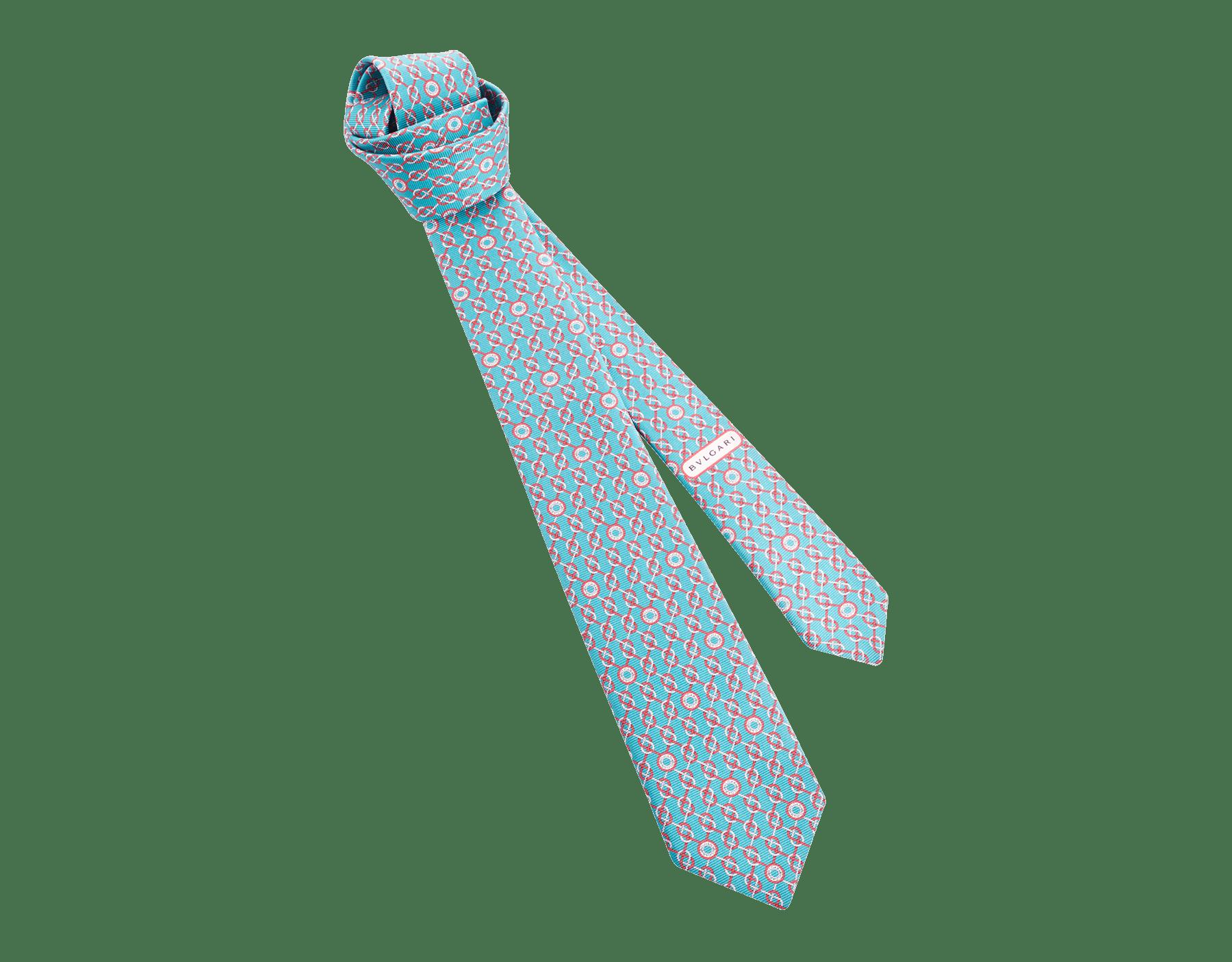 Arctic Jade Sailor Logo pattern seven-fold tie in fine saglione printed silk. 244198 image 1