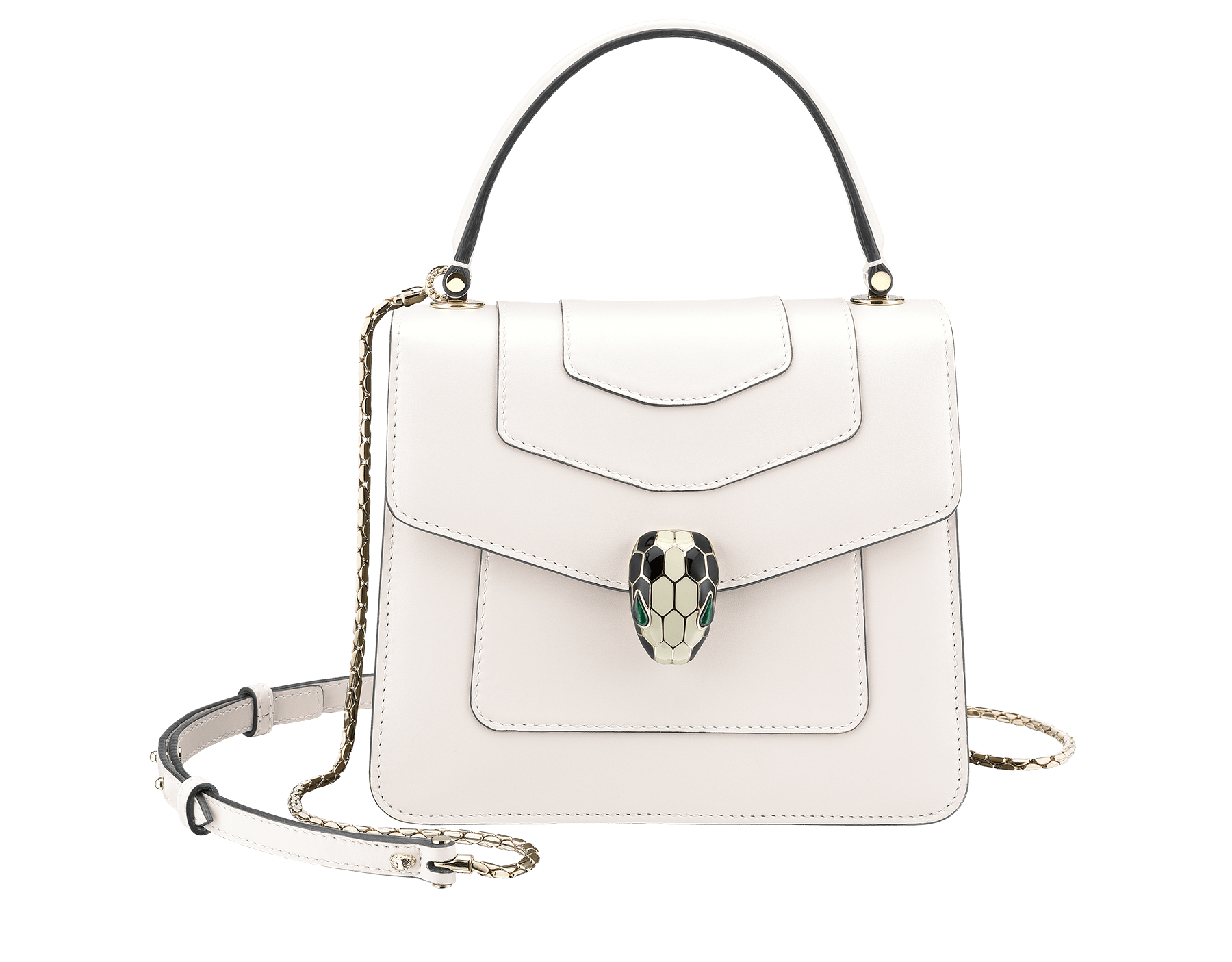 """Serpenti Forever"" crossbody bag in crystal rose calf leather. Iconic snakehead closure in light gold plated brass enriched with black and white enamel and green malachite eyes 752-CLa image 1"