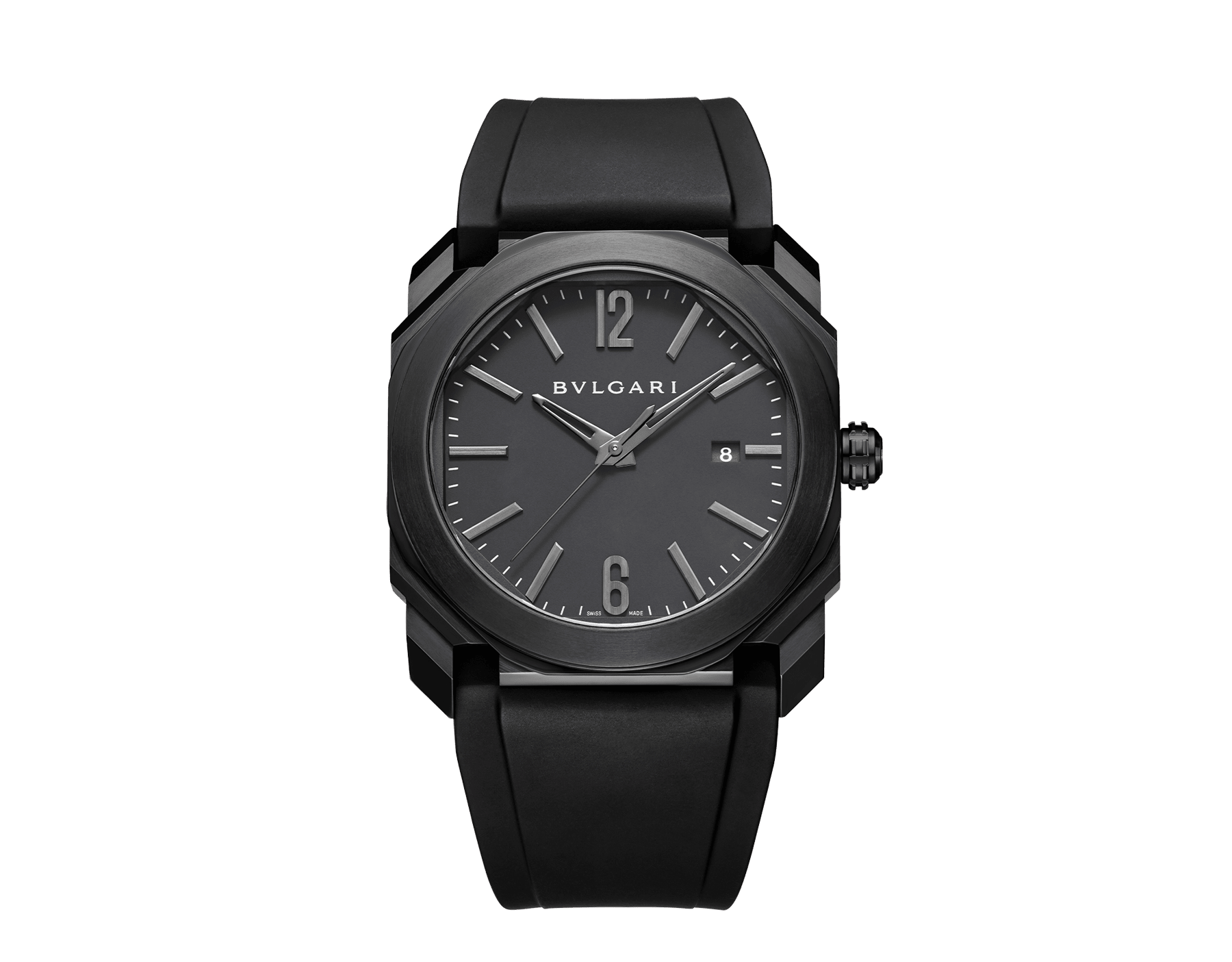 Octo watch with mechanical manufacture movement, automatic winding and date, stainless steel case treated with black Diamond Like Carbon, black lacquered dial and black rubber bracelet. 102737 image 1