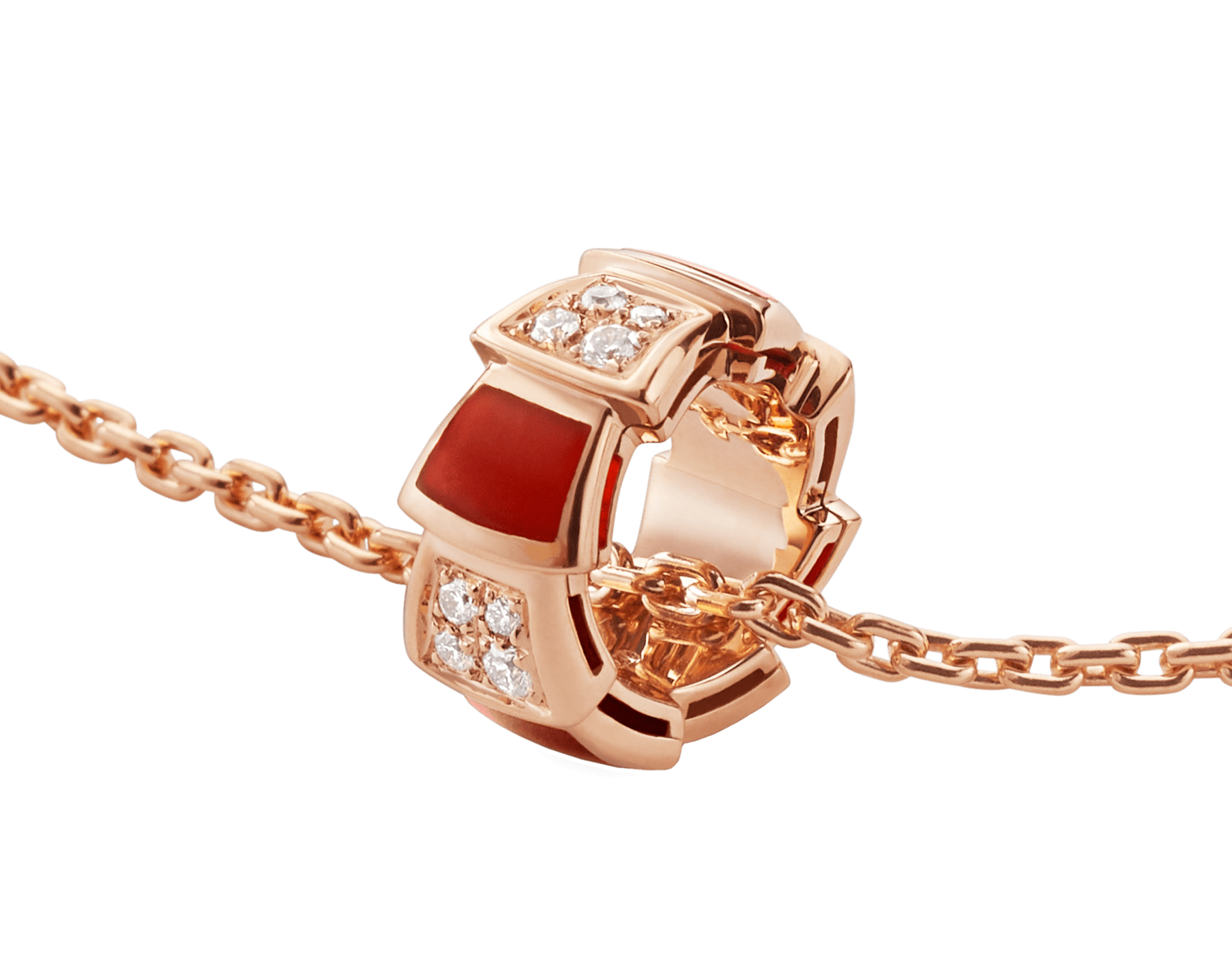 Serpenti Viper necklace with 18 kt rose gold chain and 18 kt rose gold pendant set with carnelian elements and demi pavé diamonds. 355088 image 3
