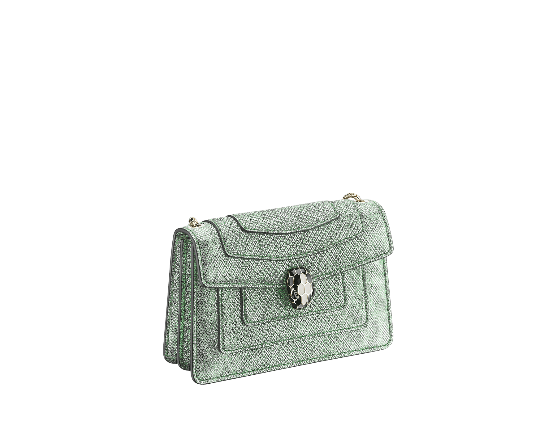 """Serpenti Forever"" crossbody micro bag in mint metallic karung skin. Brass light gold plated snakehead closure in black and white agate enamel, with black onyx eyes. 290005 image 2"