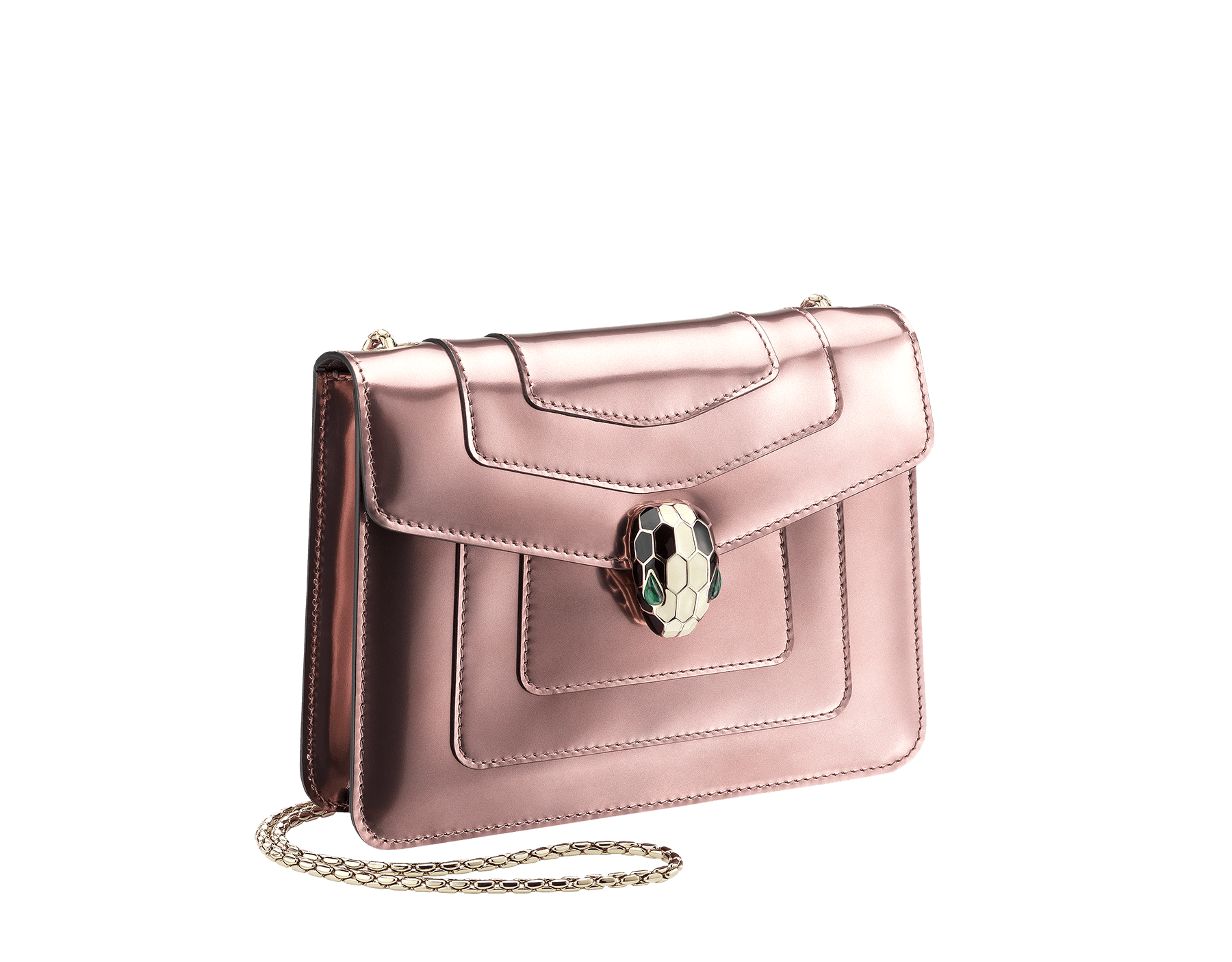 Flap cover bag Serpenti Forever in rose quartz brushed metallic calf leather. Brass light gold plated tempting snake head closure in black and white enamel, with eyes in green malachite. 422-BMCLb image 2