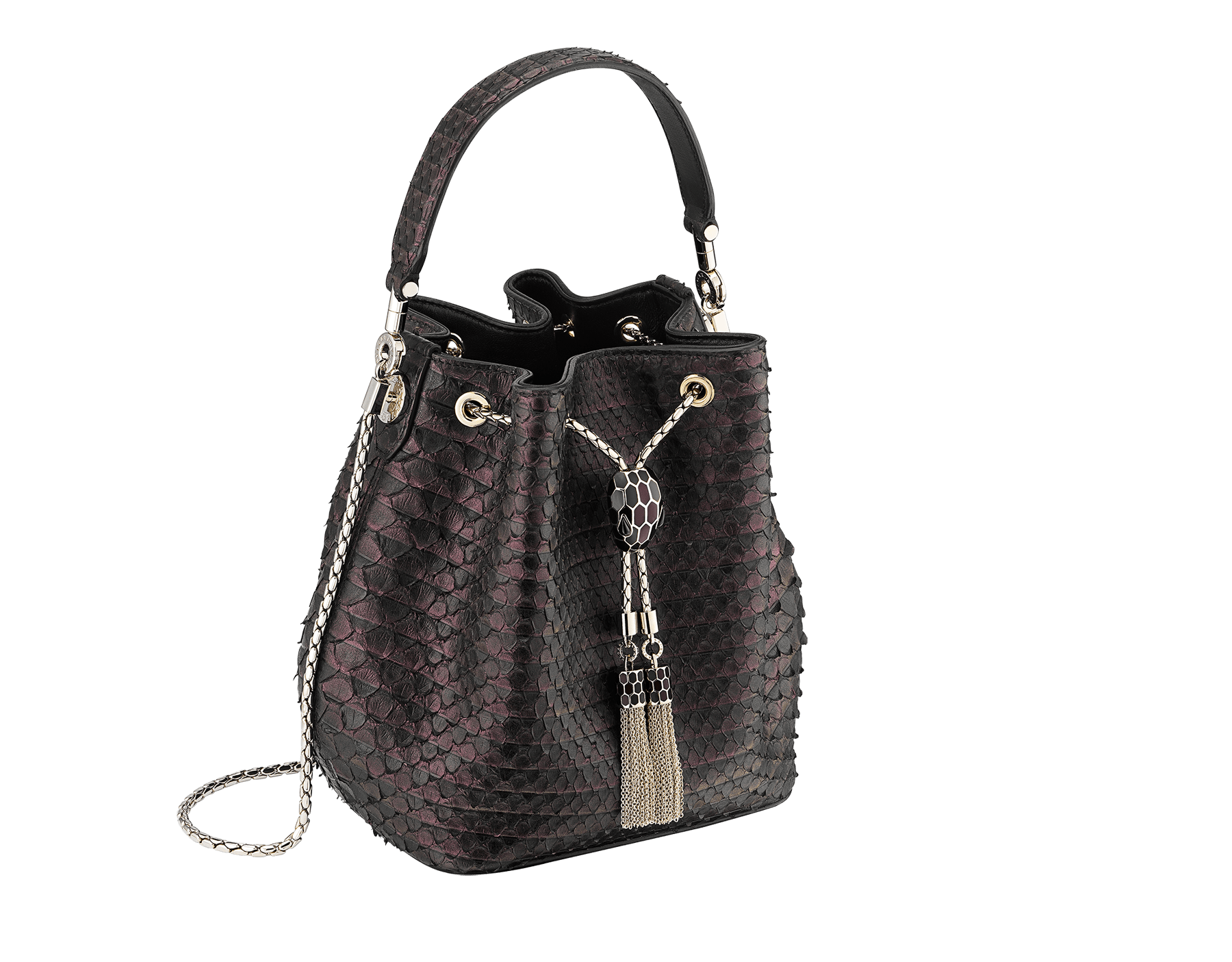 Bucket Serpenti Forever in plum amethyst Plissé python skin and black nappa internal lining. Hardware in light gold plated brass and snakehead closure in black and plum amethyst enamel, with eyes in black onyx. 934-PP image 2