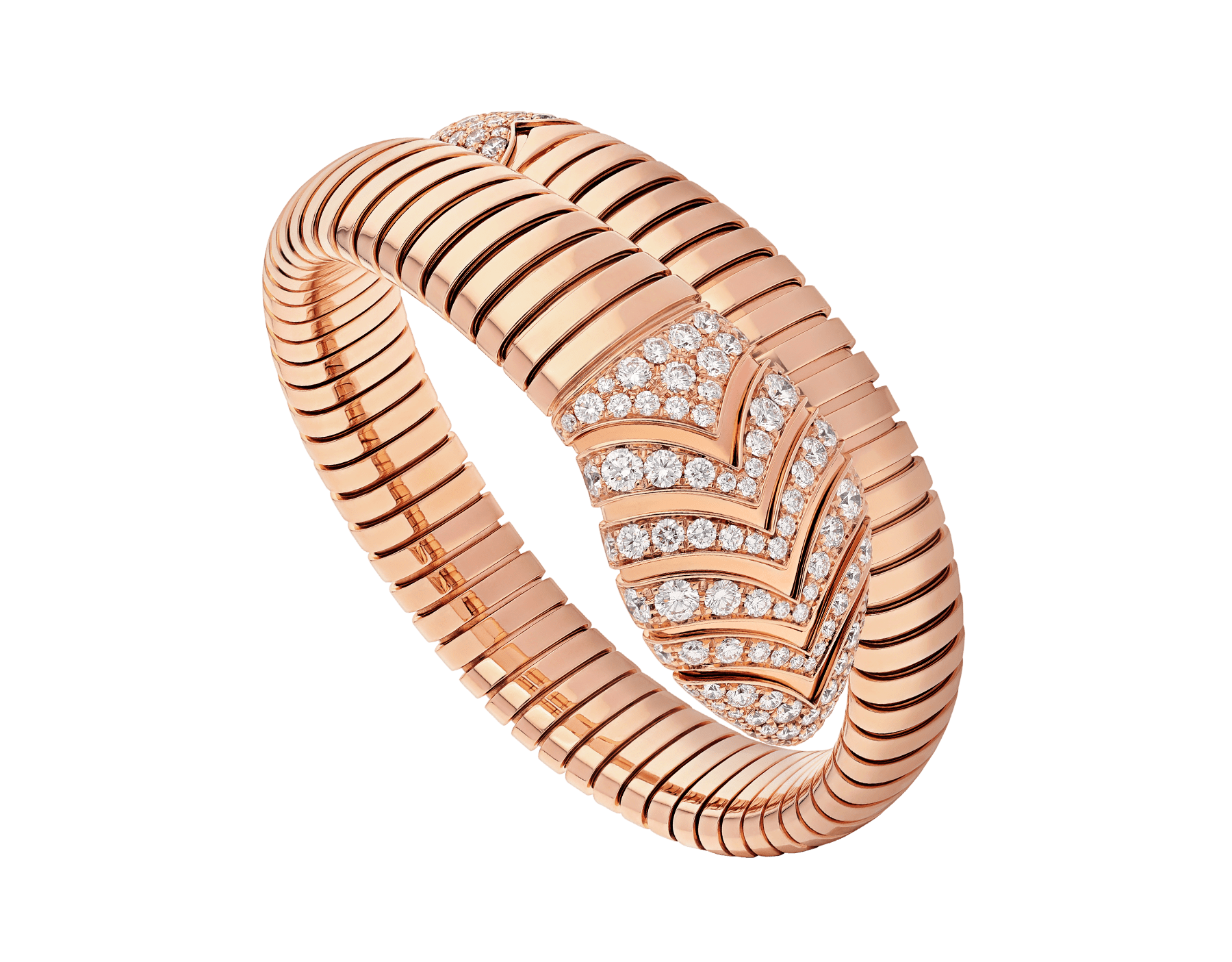 Serpenti Tubogas single spiral bracelet in 18 kt rose gold, set with pavé diamonds on the head and the tail. BR856845 image 1
