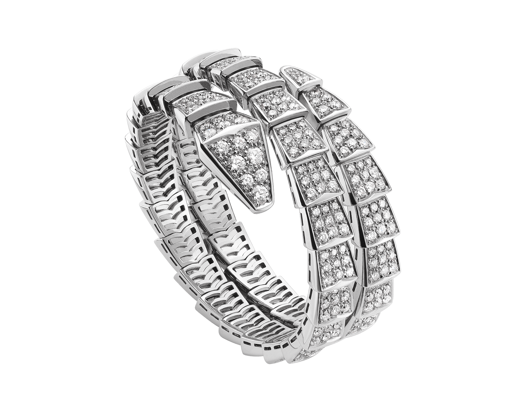 Serpenti two-coil bracelet in 18 kt white gold, set with full pavé diamonds. BR855118 image 1