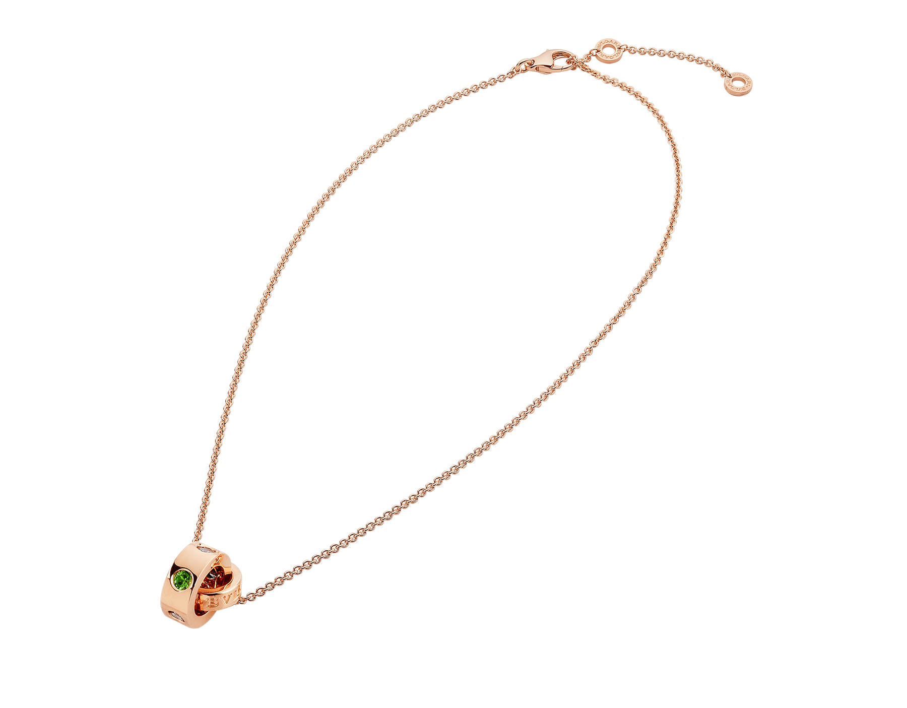 Colar BVLGARIBVLGARI com corrente em ouro rosa 18K e pingente em ouro rosa 18K cravejado com safiras azuis e tsavoritas 352619 image 2