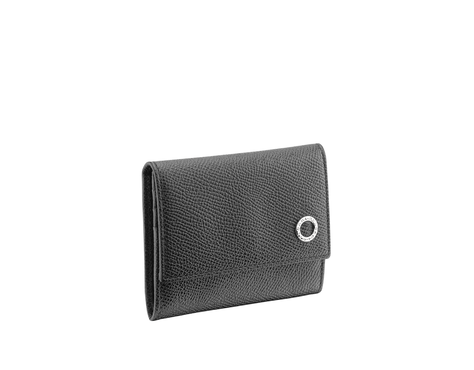 Coin and credit card holder in denim sapphire grain calf leather with brass palladium plated BVLGARI BVLGARI motif. BBM-COIN-CC-HOLDER image 1