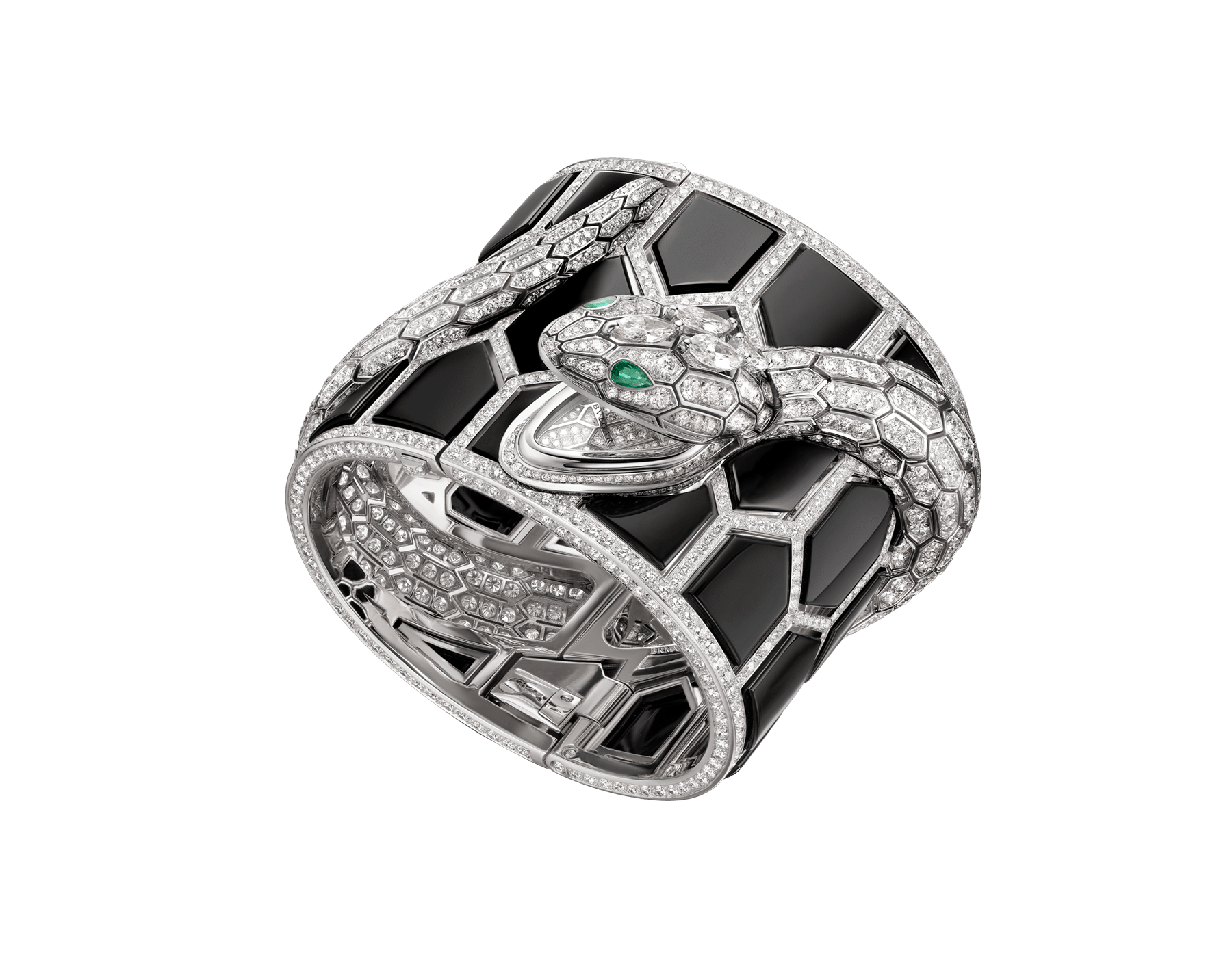 Serpenti Misteriosi Secret Watch with 18 kt white gold handcuff set with onyx elements and brilliant-cut diamonds, body of a snake in 18 kt white gold set with brilliant-cut and marquise-shaped diamonds, and pear-shaped emerald eyes 102985 image 1
