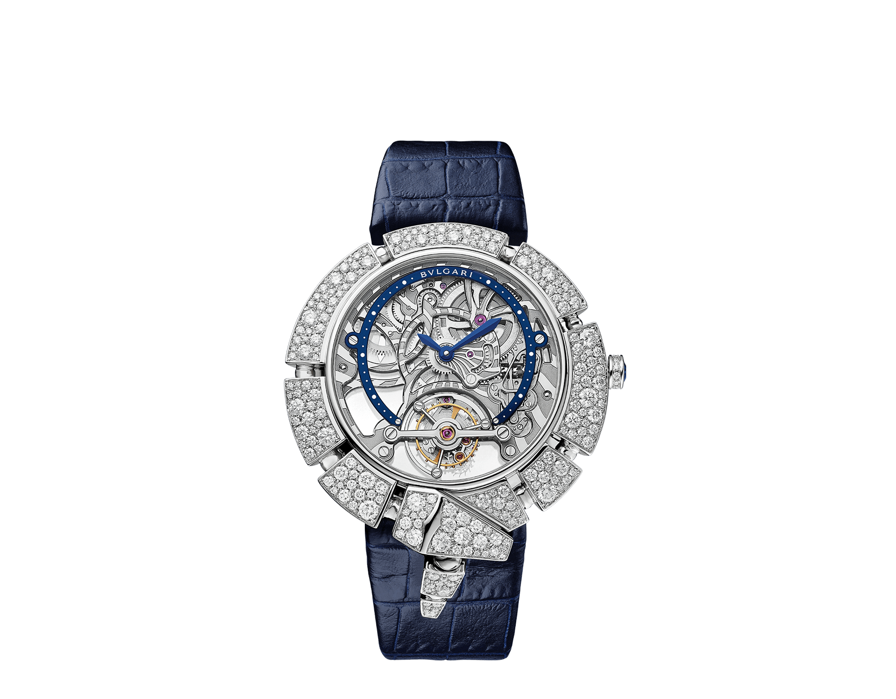 Serpenti Incantati Limited Edition watch with mechanical manufacture skeletonized movement, tourbillon and manual winding. 18 kt white gold case set with brilliant cut diamonds, transparent dial and blue alligator bracelet. 102541 image 1