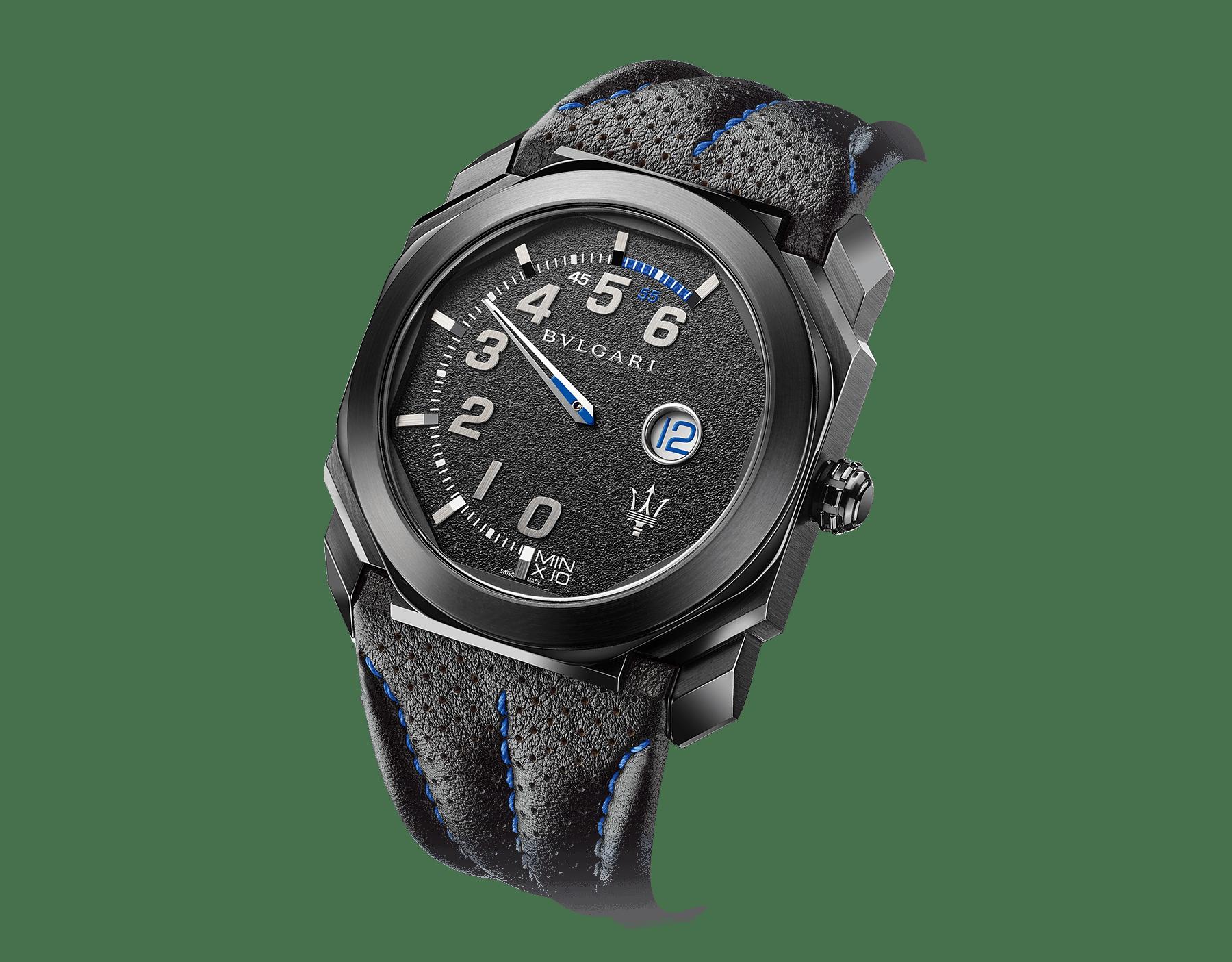 Relógio Octo Maserati GranSport edição limitada Mono-Retro com movimento de manufatura mecânico, corda automática, horas saltantes e minutos retrógrados. Caixa em aço inoxidável com tratamento em carbono tipo diamante (DLC) preto, mostrador preto e pulseira em couro preto. 102717 image 2