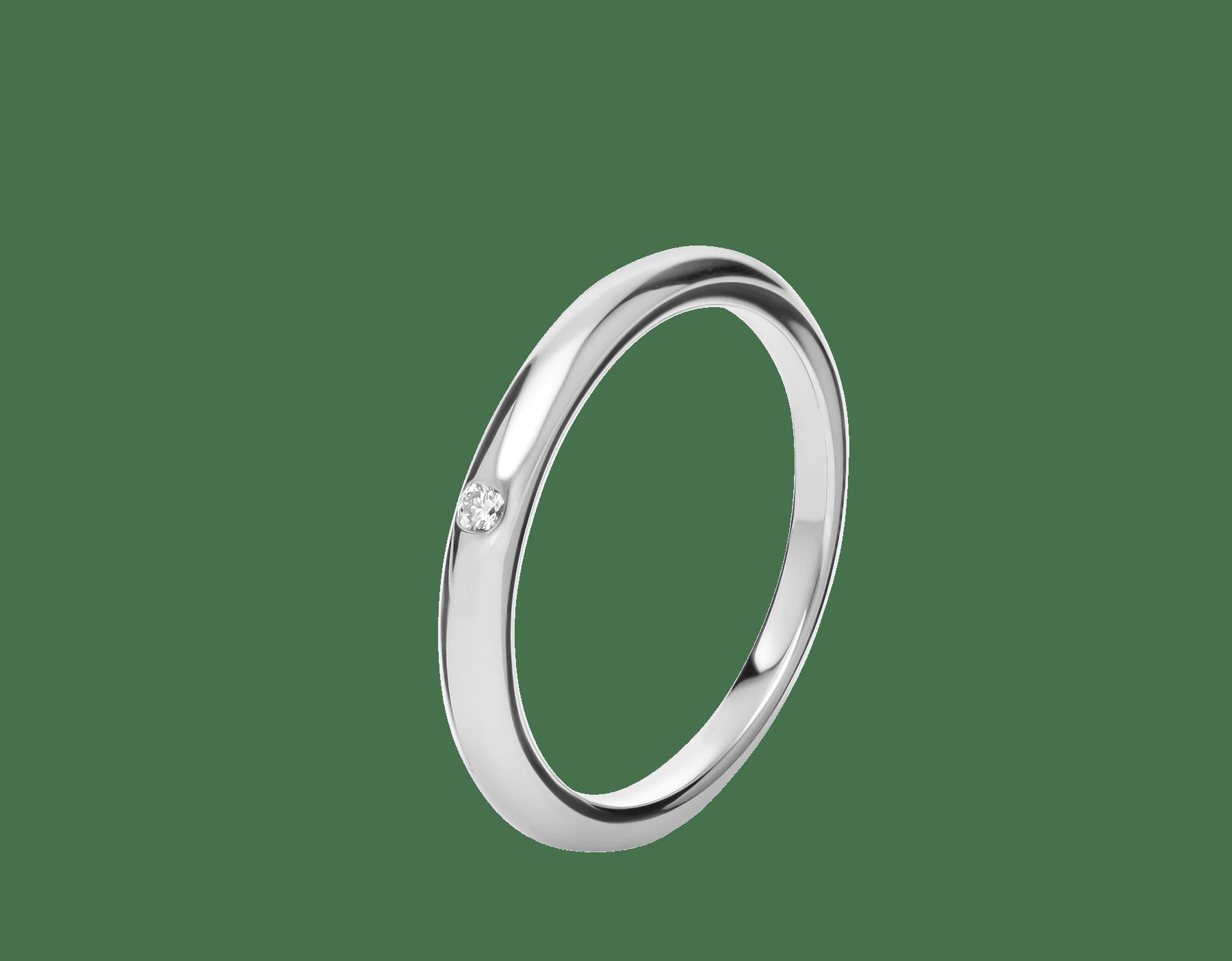 フェディ ウェディング・リング。ダイヤモンドを配したプラチナ製。 Fedi-7 image 1