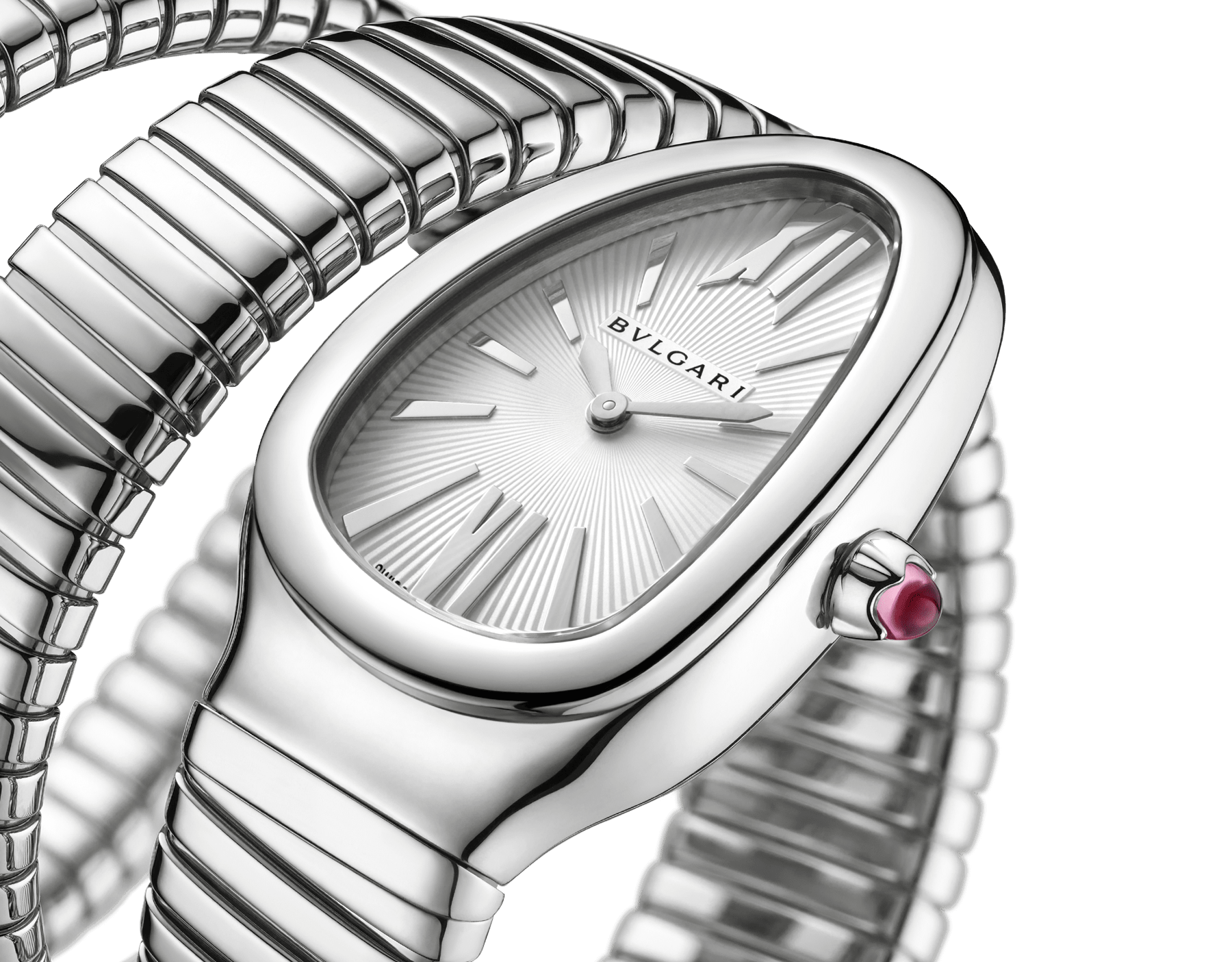 Serpenti Tubogas double spiral watch in stainless steel case and bracelet, with silver opaline dial. 101911 image 3