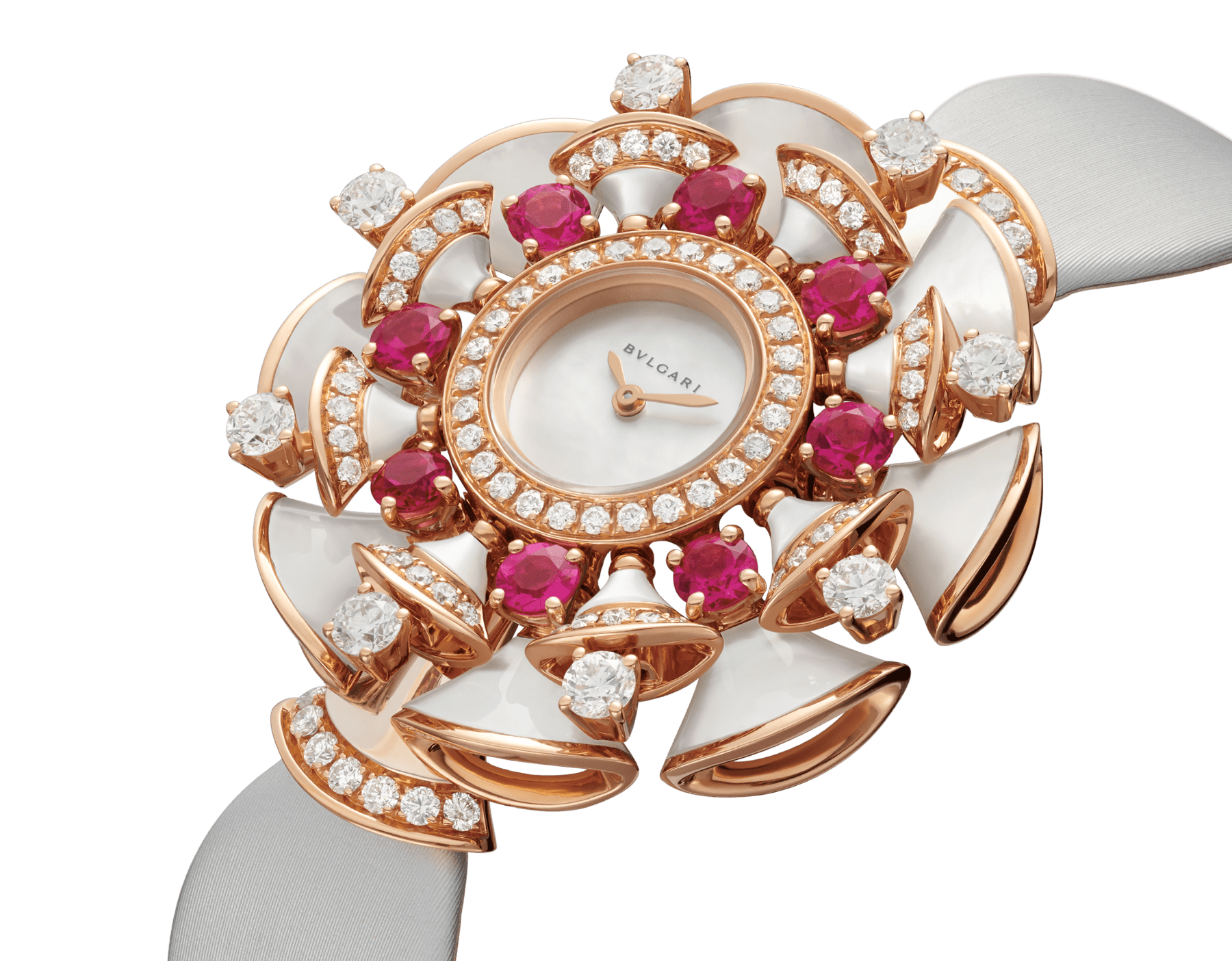 DIVAS' DREAM watch with 18 kt rose gold case set with brilliant and round-cut diamonds, round-cut rubellites and mother-of-pearl elements, white mother-of-pearl dial and grey satin bracelet 102218 image 2