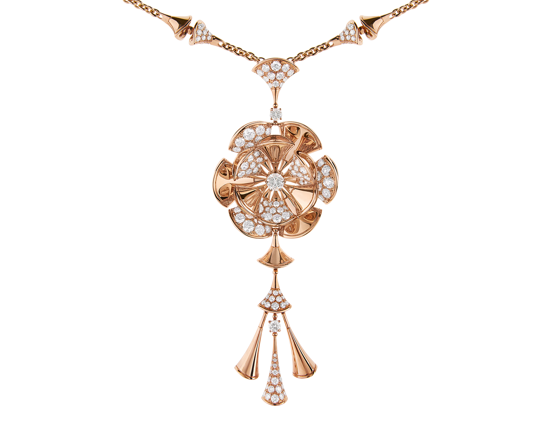 Collana DIVAS' DREAM in oro rosa 18 kt con tre diamanti e pavé di diamanti. 348361 image 3