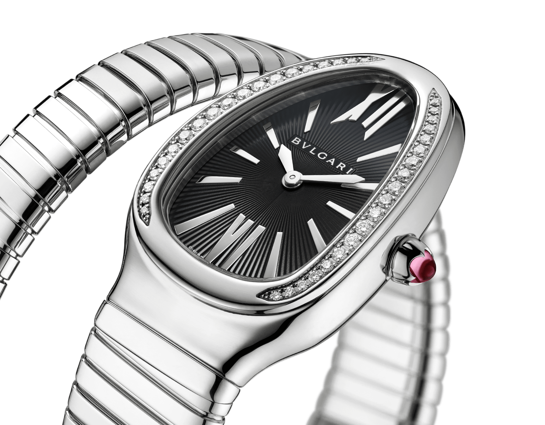 Serpenti Tubogas single spiral watch with stainless steel case and bracelet, bezel set with brilliant-cut diamonds and black dial with guilloché soleil treatment. Water-resistant up to 30 metres. Small size 103524 image 2