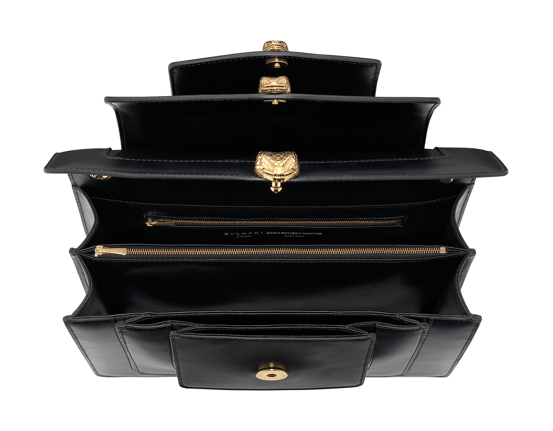 Alexander Wang x Bvlgari Triplette shoulder bag in smooth black calf leather. New triple Serpenti head closure in antique gold plated brass with tempting red enamel eyes. Limited edition. SFW-001-1003M image 4
