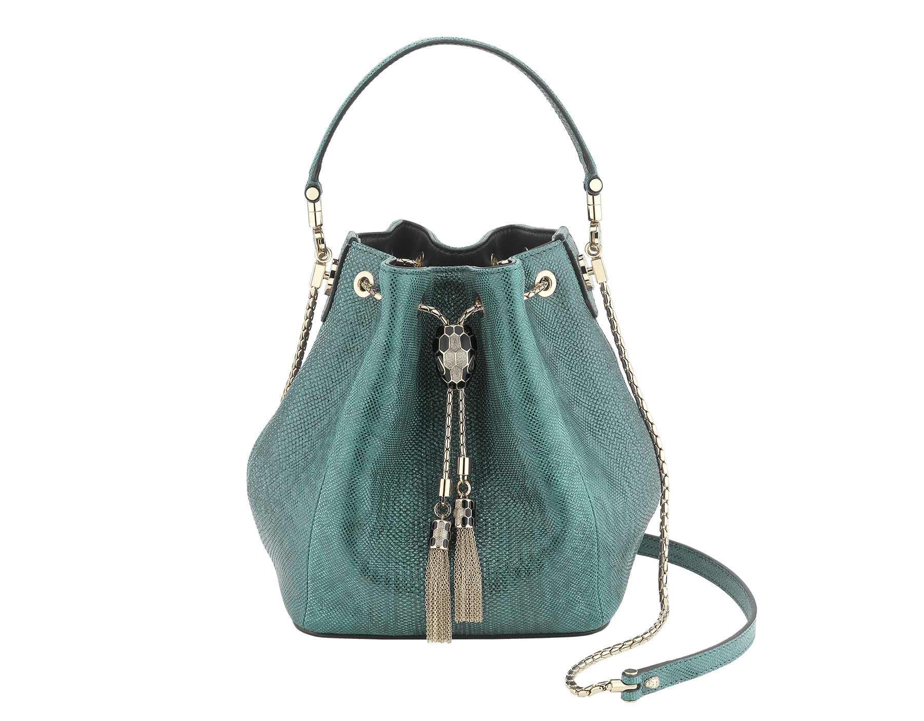 Serpenti Forever bucket bag in forest emerald metallic karung skin and black nappa inner lining. Snakehead closure in light gold plated brass decorated with black and glitter forest emerald enamel, and black onyx eyes. 287839 image 1
