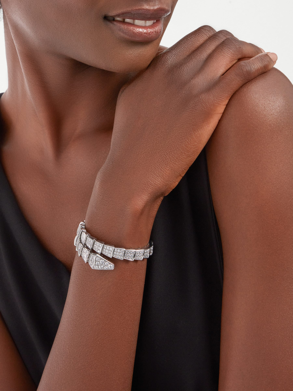 Serpenti Viper 18K 白金單圈手環,飾以全密鑲鑽石。 BR855231 image 1