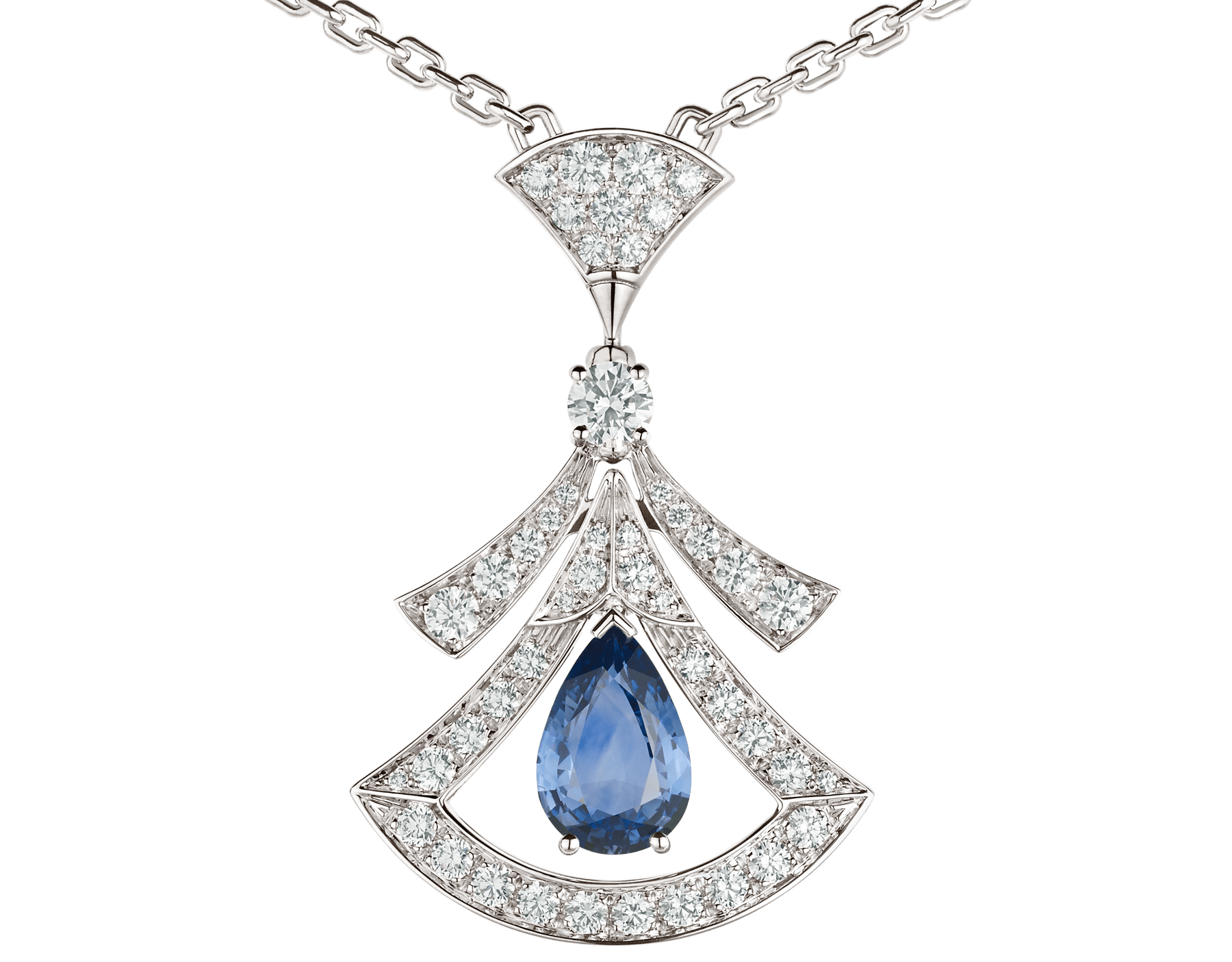 DIVAS' DREAM 18 kt white gold openwork necklace set with a pear-shaped sapphire, round brilliant-cut sapphires, a round brilliant-cut diamond and pavé diamonds. 357325 image 4