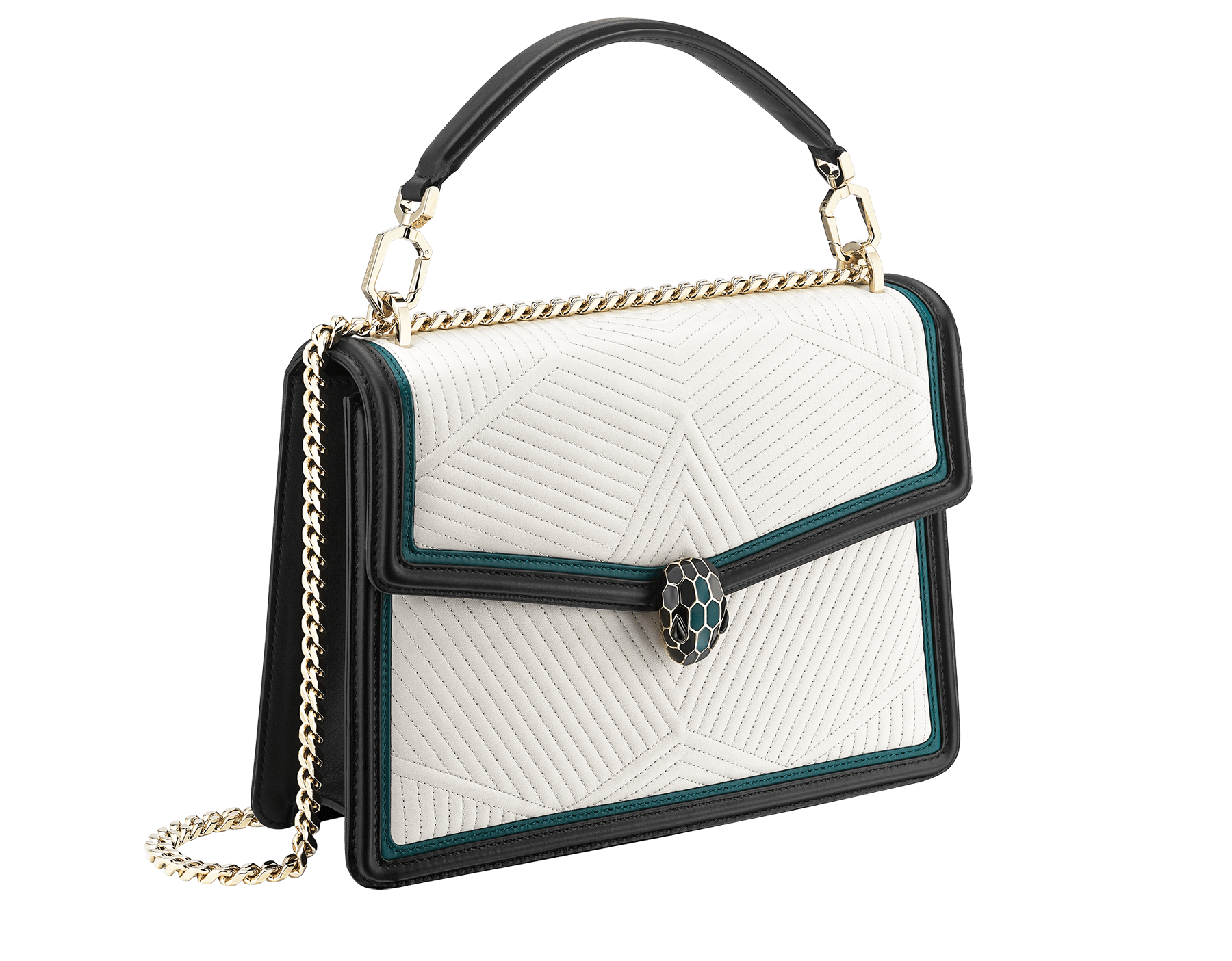 """Serpenti Diamond Blast"" shoulder bag in deep jade quilted nappa leather body and roman garnet and black calf leather frames. Iconic snakehead closure in light gold plated brass enriched with deep jade and black enamel and black onyx eyes. 973-FQDb image 2"