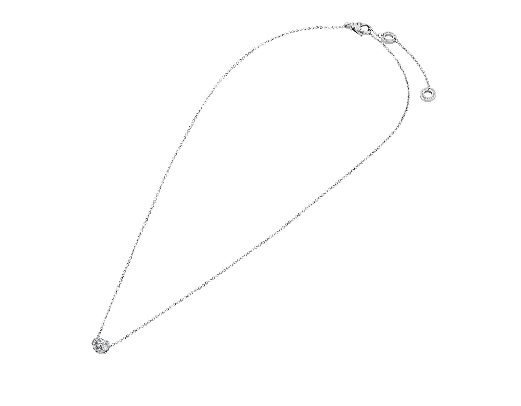 Incontro d'Amore necklace with 18 kt white gold chain, 18 kt white gold pendant set with a central diamond (0.10 ct) and pavé diamonds. 355249 image 2