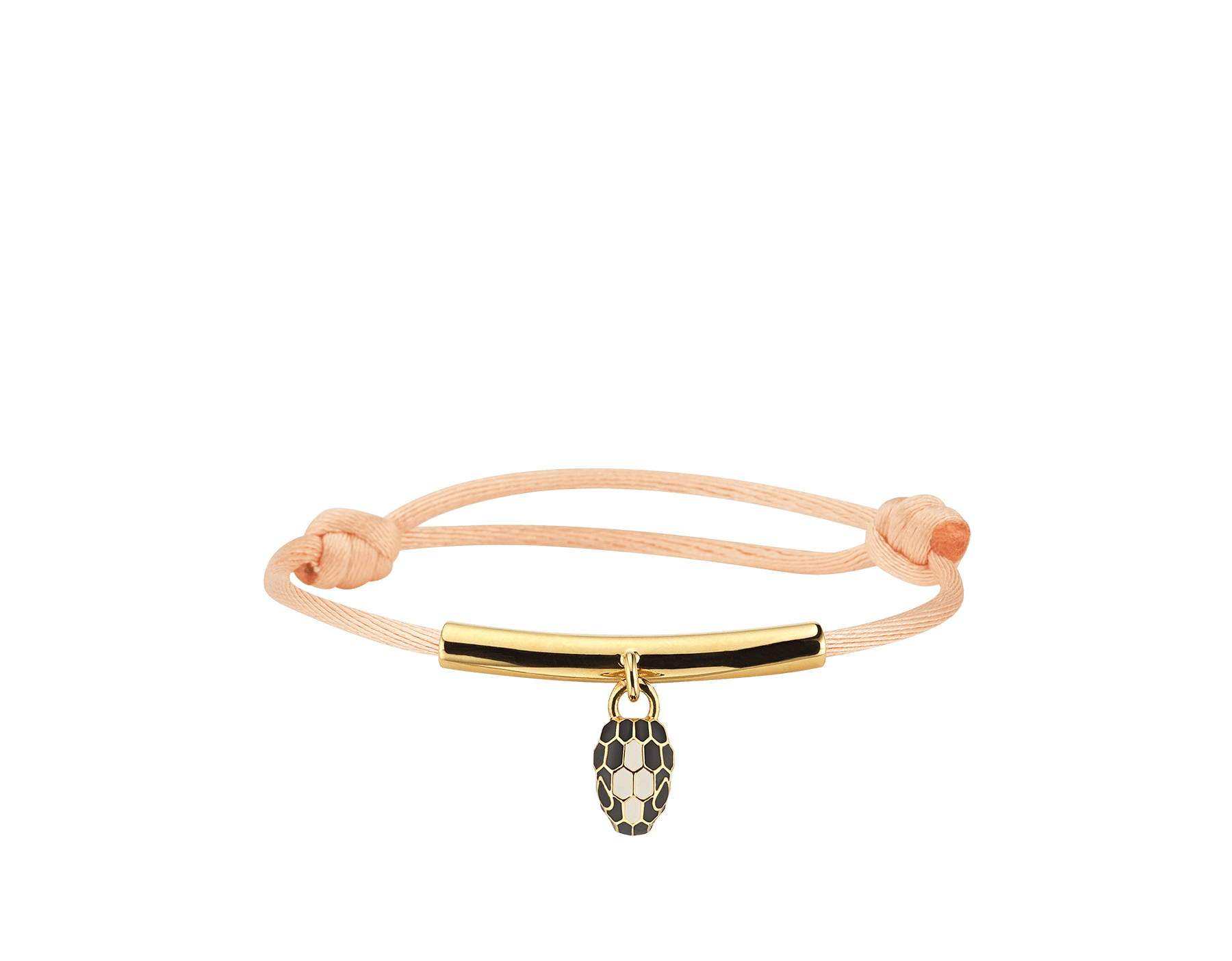 """""""Serpenti Forever"""" bracelet in Mimetic Jade green fabric, with a gold-plated brass plate. Iconic snakehead charm enameled in black and white agate, with seductive black enamel eyes. SERP-MINISTRINGa image 1"""