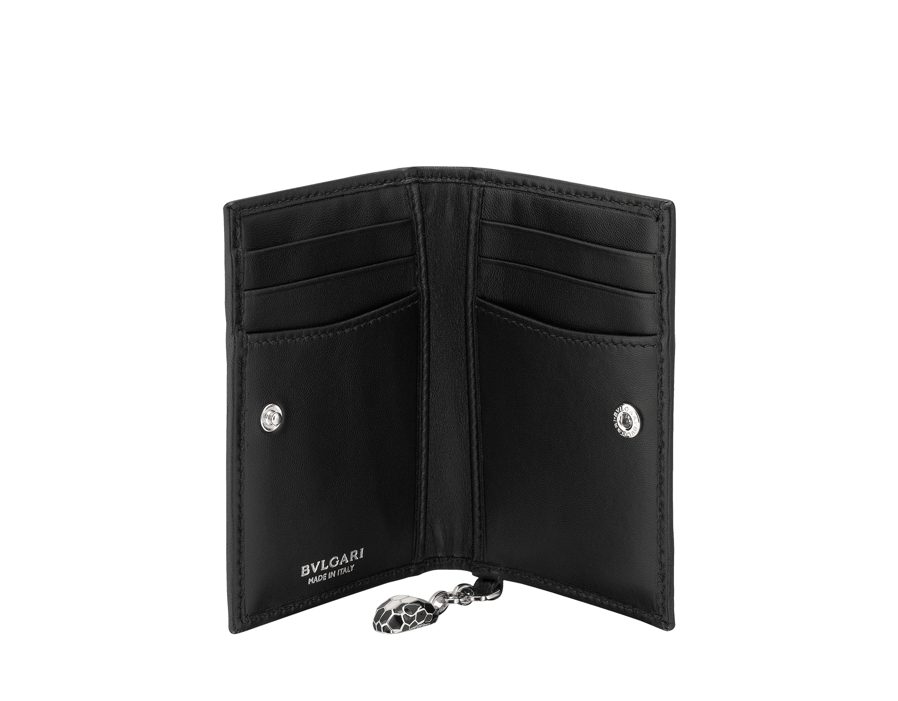 Serpenti Diamond Blast folded credit card holder in black quilted nappa leather. Iconic snakehead charm in black and white enamel, with black enamel eyes. 287578 image 2