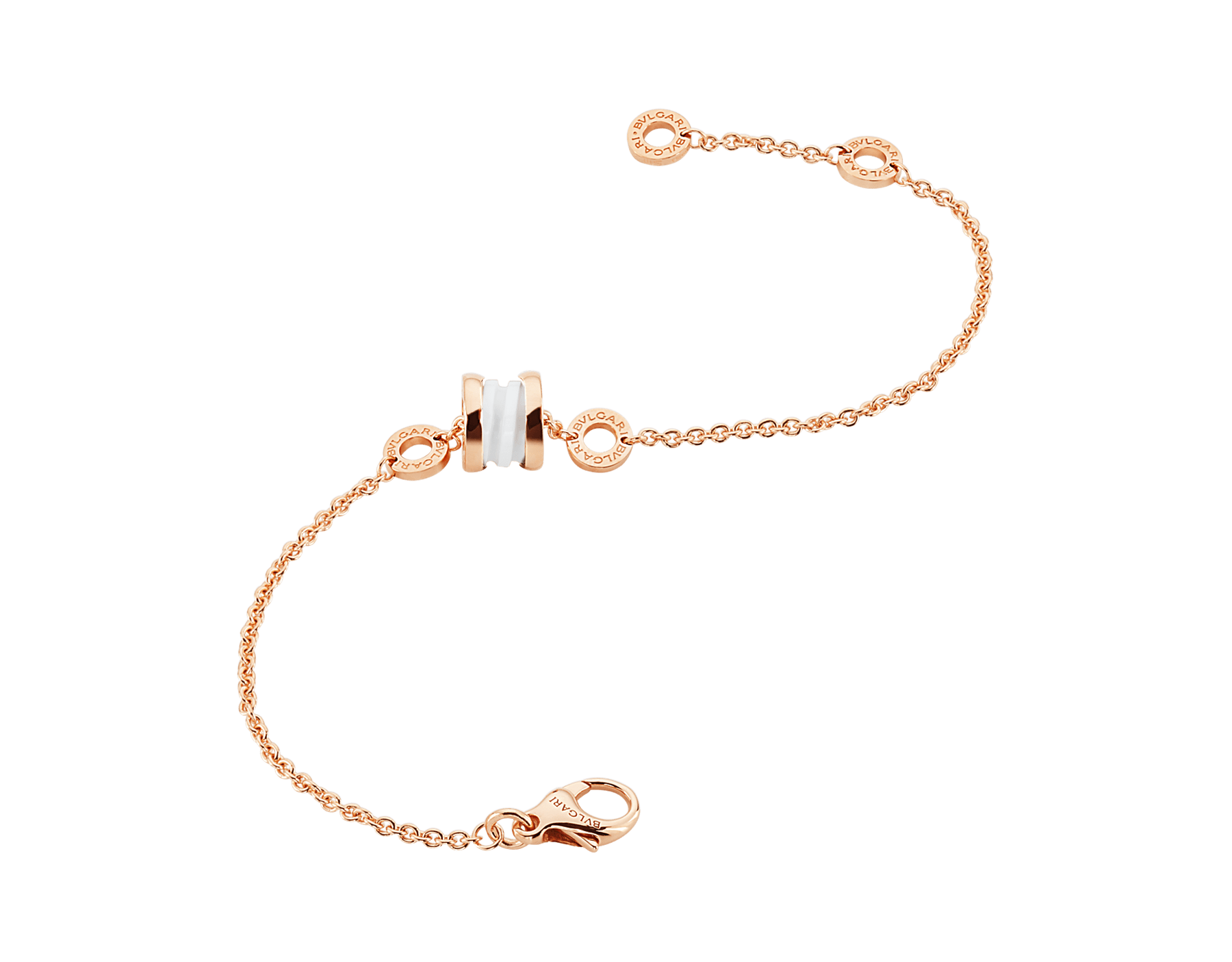 B.zero1 soft bracelet in 18 kt rose gold with 18 kt rose gold and white ceramic pendant. BR858158 image 2