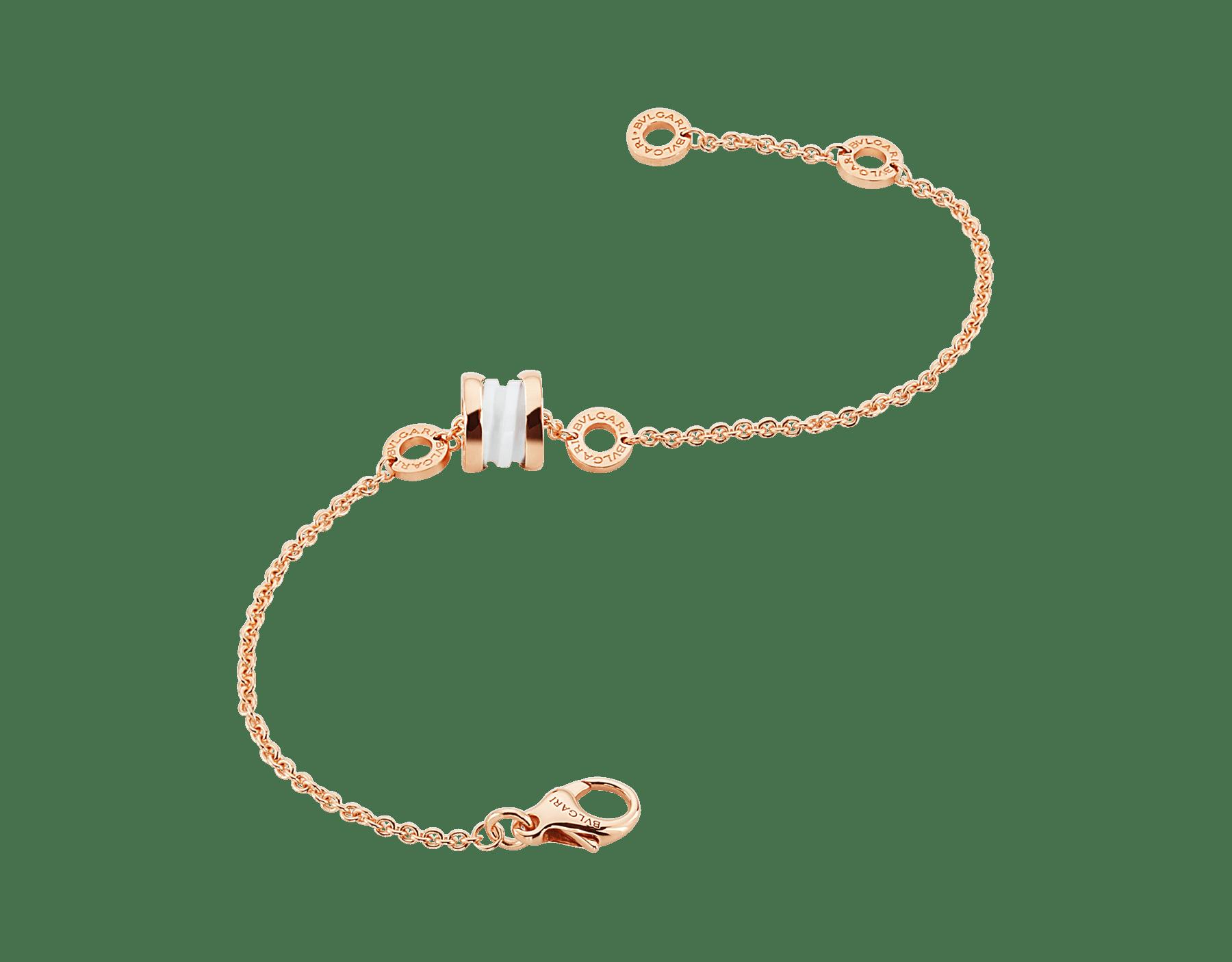 Pulseira B.zero1 em ouro rosa 18K com pingente em ouro rosa 18K e cerâmica branca. BR858158 image 2