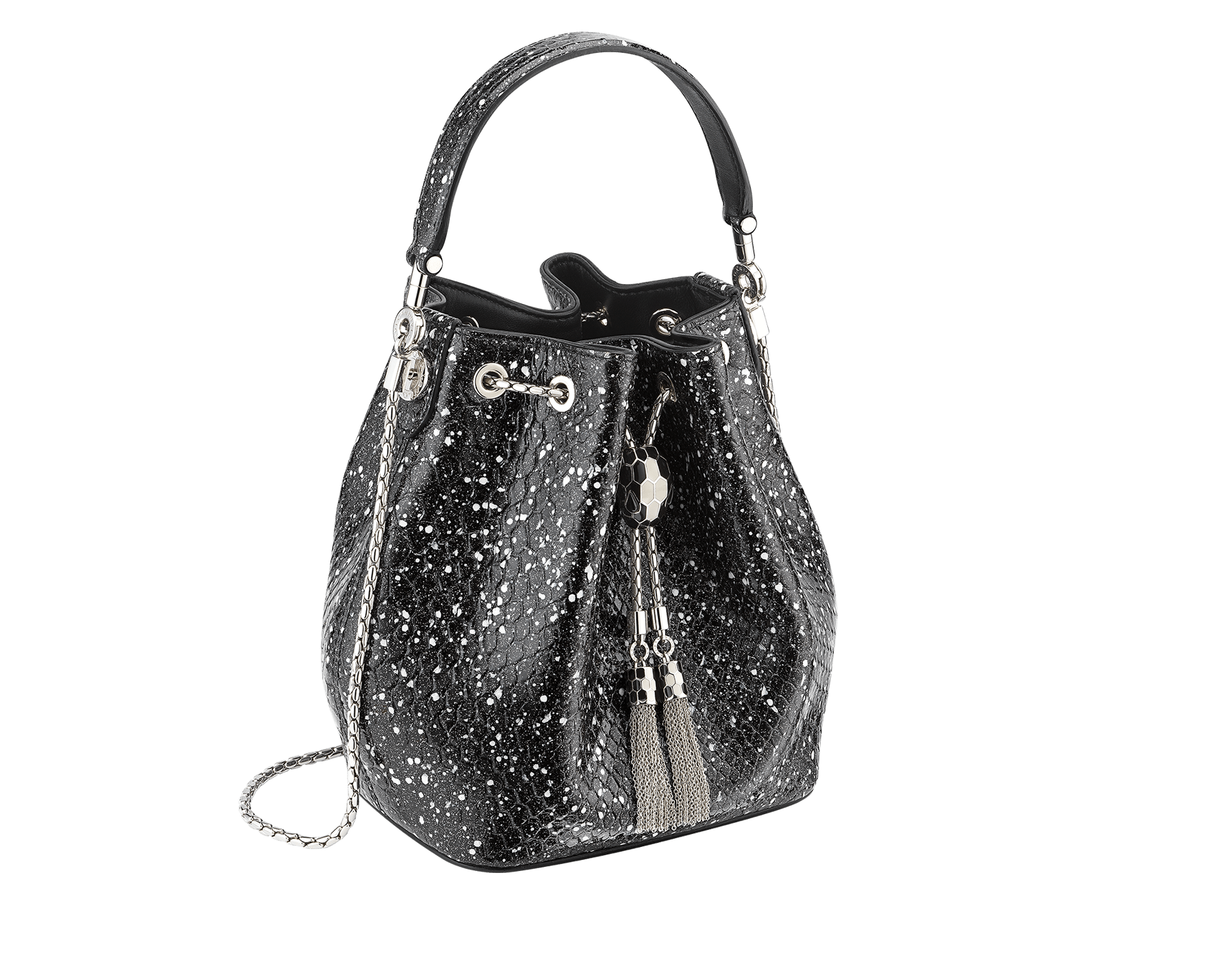 Serpenti Forever bucket bag in black and white Cosmic python skin and black nappa inner lining. Snakehead closure in palladium plated brass decorated with black and white enamel, and black onyx eyes. 288112 image 2