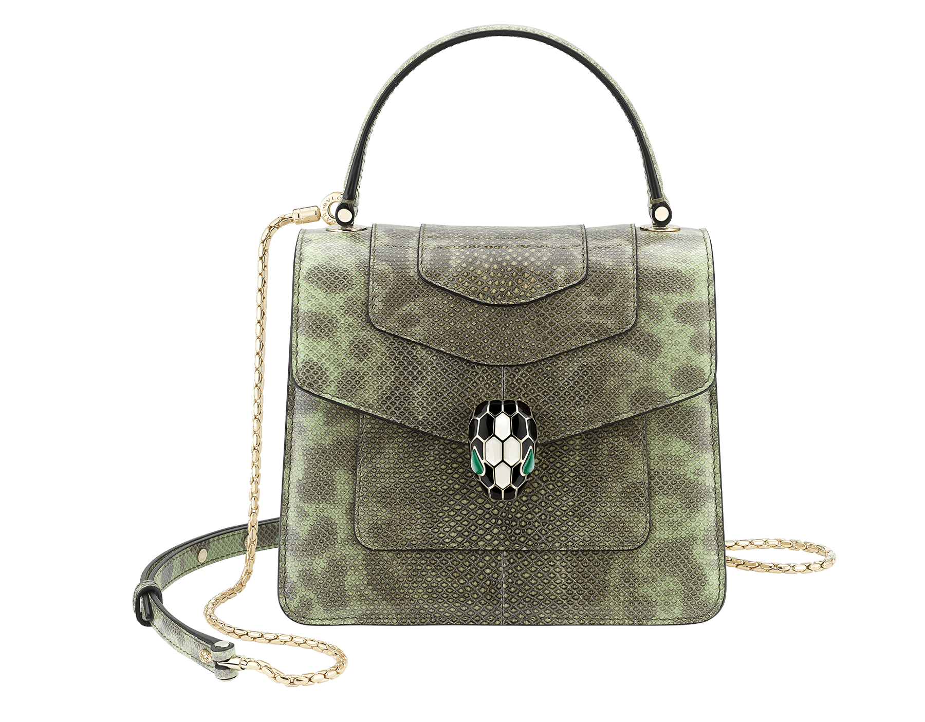 """Serpenti Forever "" crossbody bag in mint shiny karung skin. Iconic snakehead closure in light gold plated brass enriched with black and white enamel, and green malachite eyes. 752-SKb image 1"