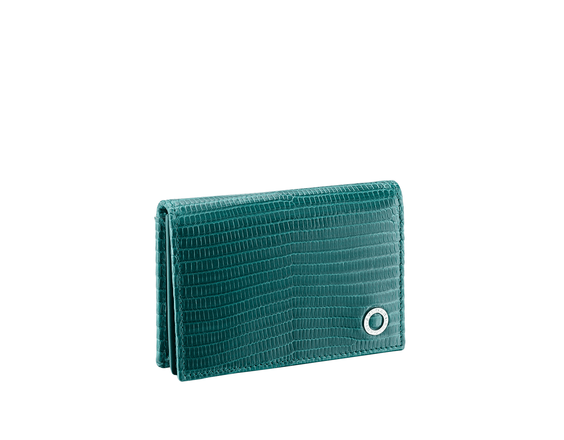 BVLGARI BVLGARI business card holder in forest emerald shiny lizard skin, with brass palladium plated logo décor. 289395 image 1