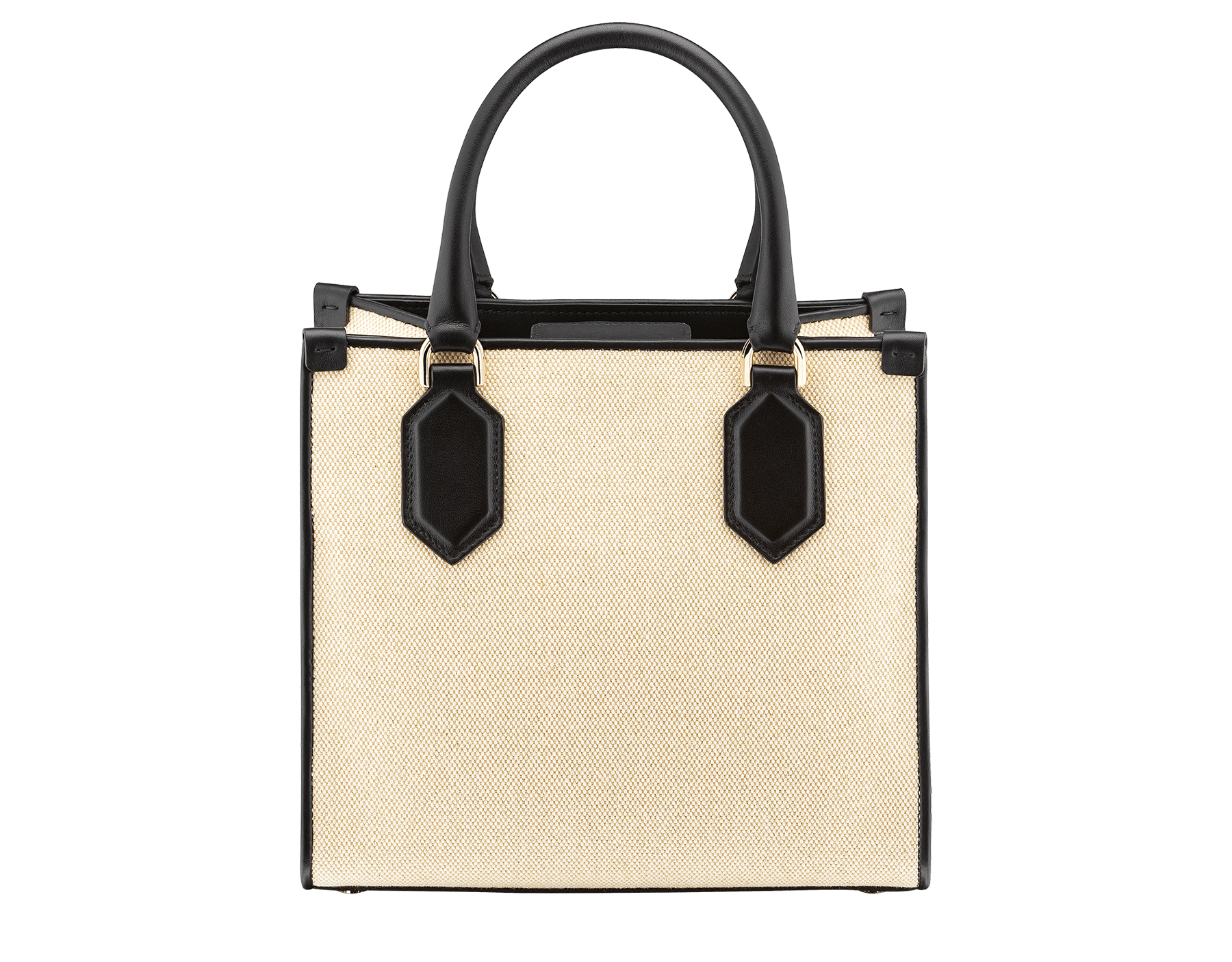 """Bvlgari Logo"" small tote bag in Ivory Opal white canvas, with Beet Amethyst purple grosgrain inner lining. Bvlgari logo featured with light gold-plated brass chain inserts on the Ivory Opal white calf leather. BVL-1159-CC image 3"