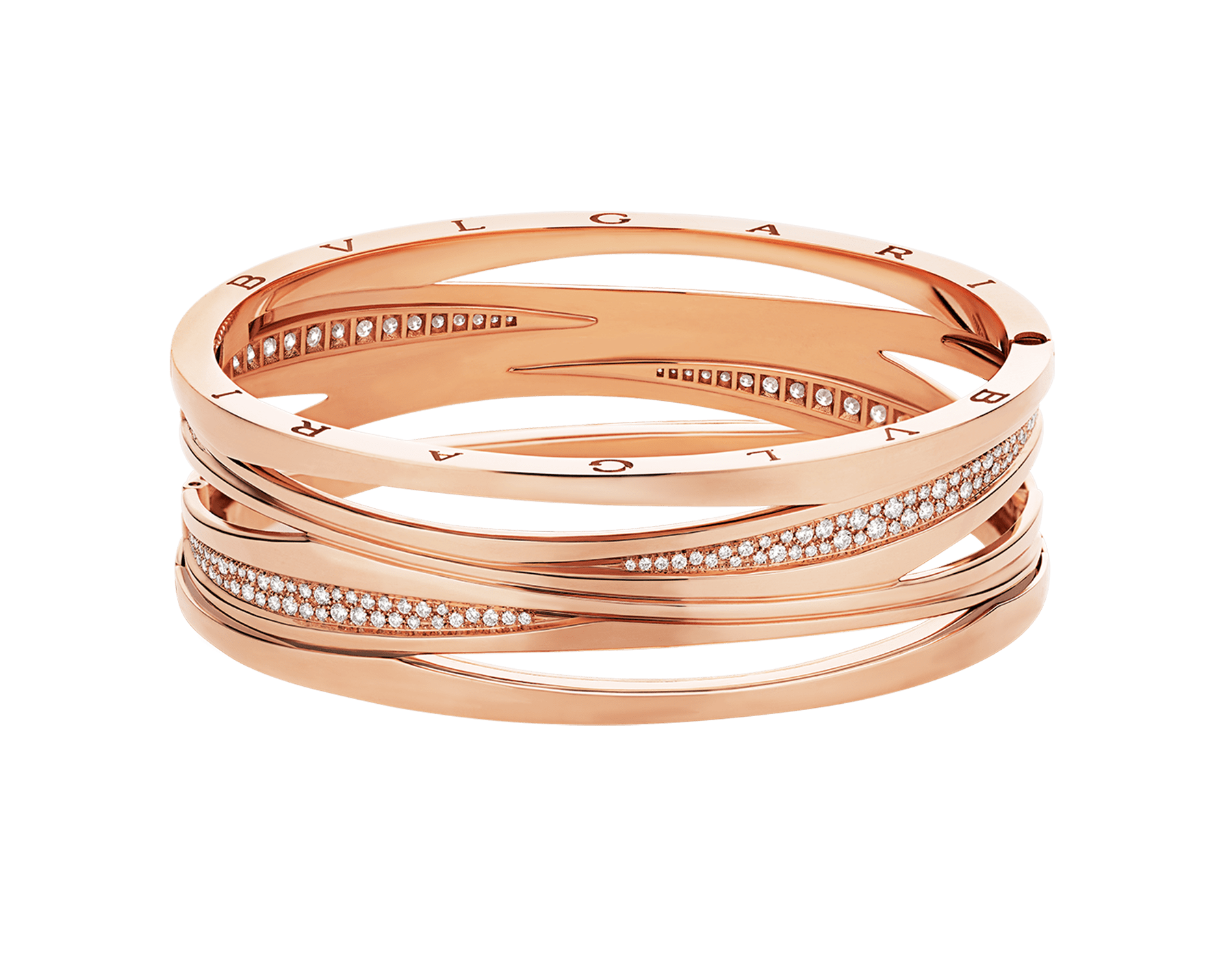 B.zero1 Design Legend bracelet in 18 kt rose gold, set with pavé diamonds on the spiral. BR858728 image 2