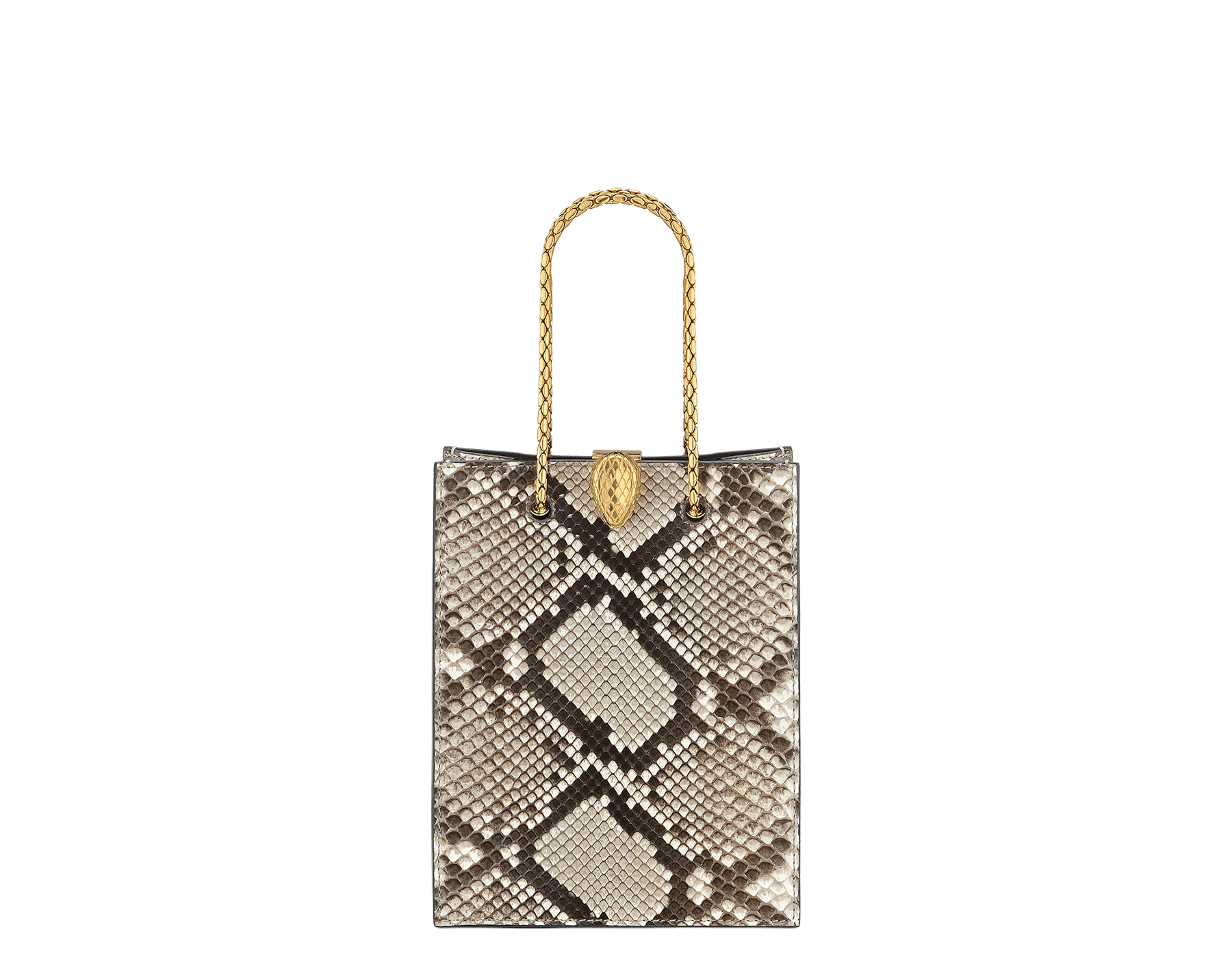 Alexander Wang x Bvlgari mini shopping tote bag in natural python skin and black calf leather. New Serpenti head closure in antique gold plated brass with tempting red enamel eyes. Limited edition. 288732 image 1